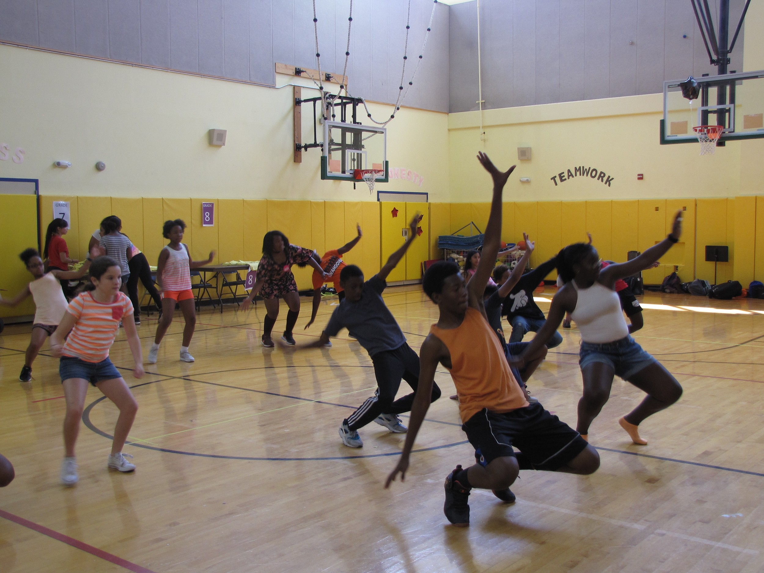 "Students interested in working on their dance skills practiced the choreography to the 1990s song ""Now That We Found Love,"" by Heavy D & The Boyz."