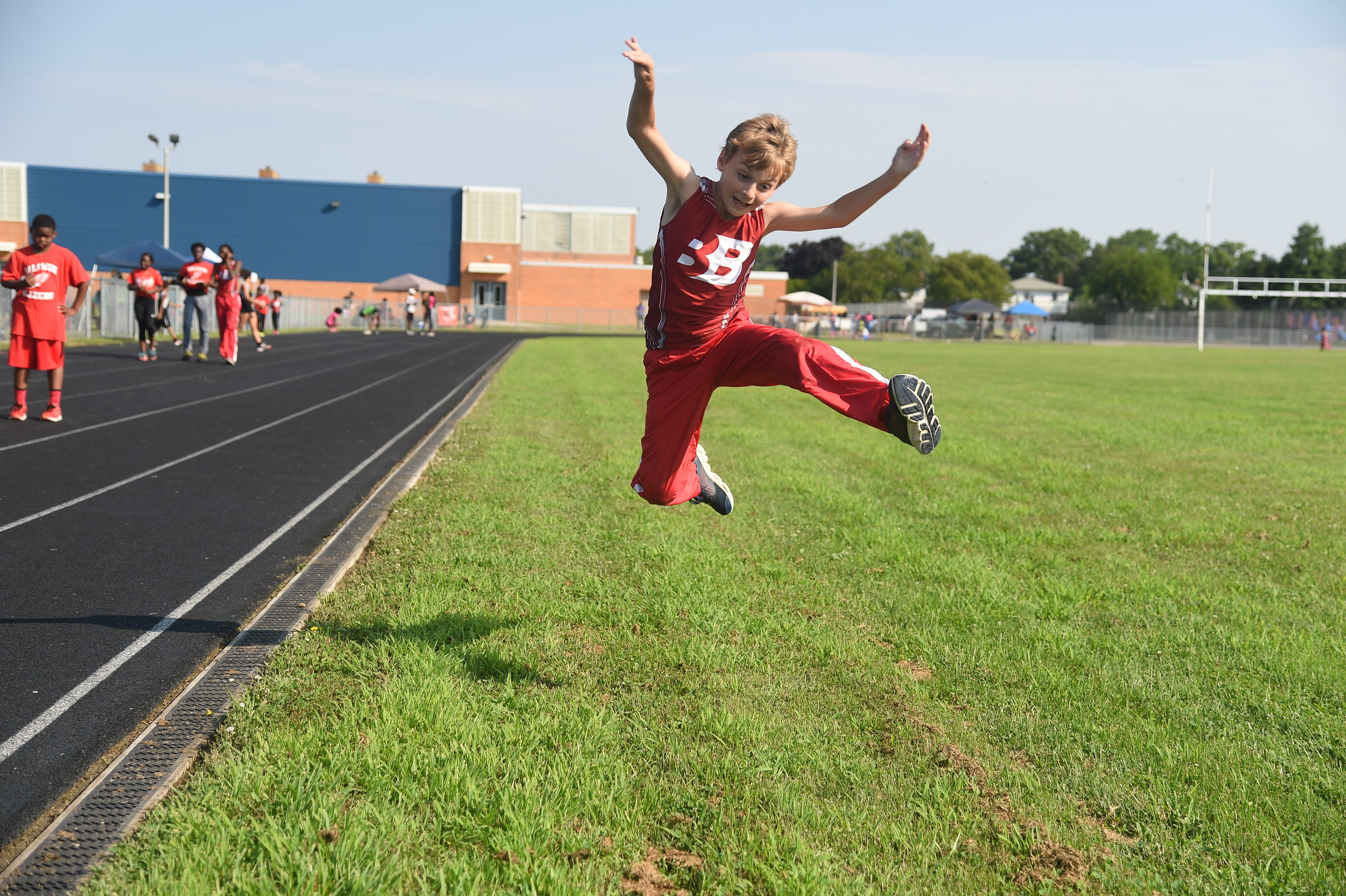 Sean O'Connor, 10, practiced for the long jump.