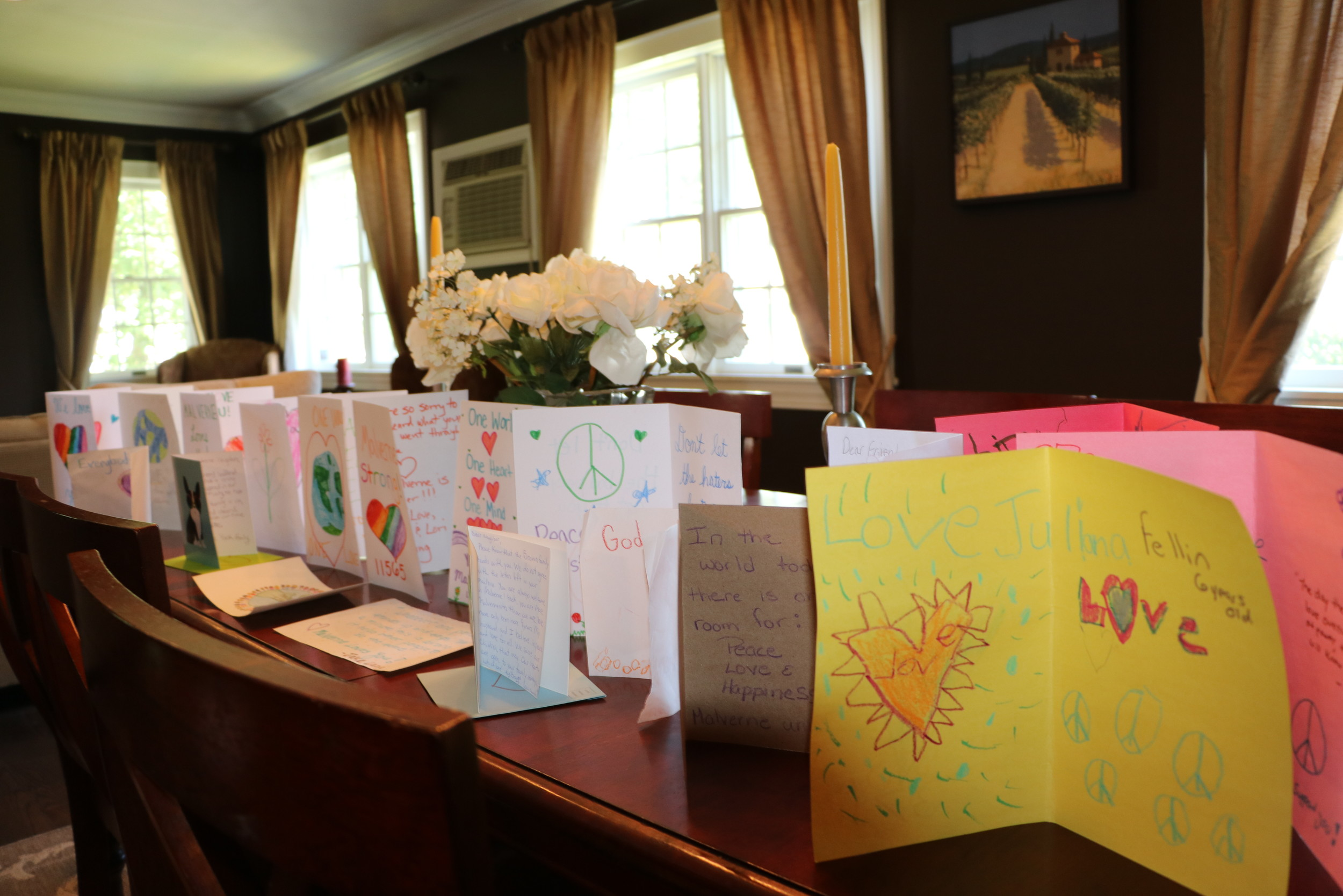 Messages of love, written by Malverne children, were addressed to members of a Muslim family who were victims of a bias incident last week.