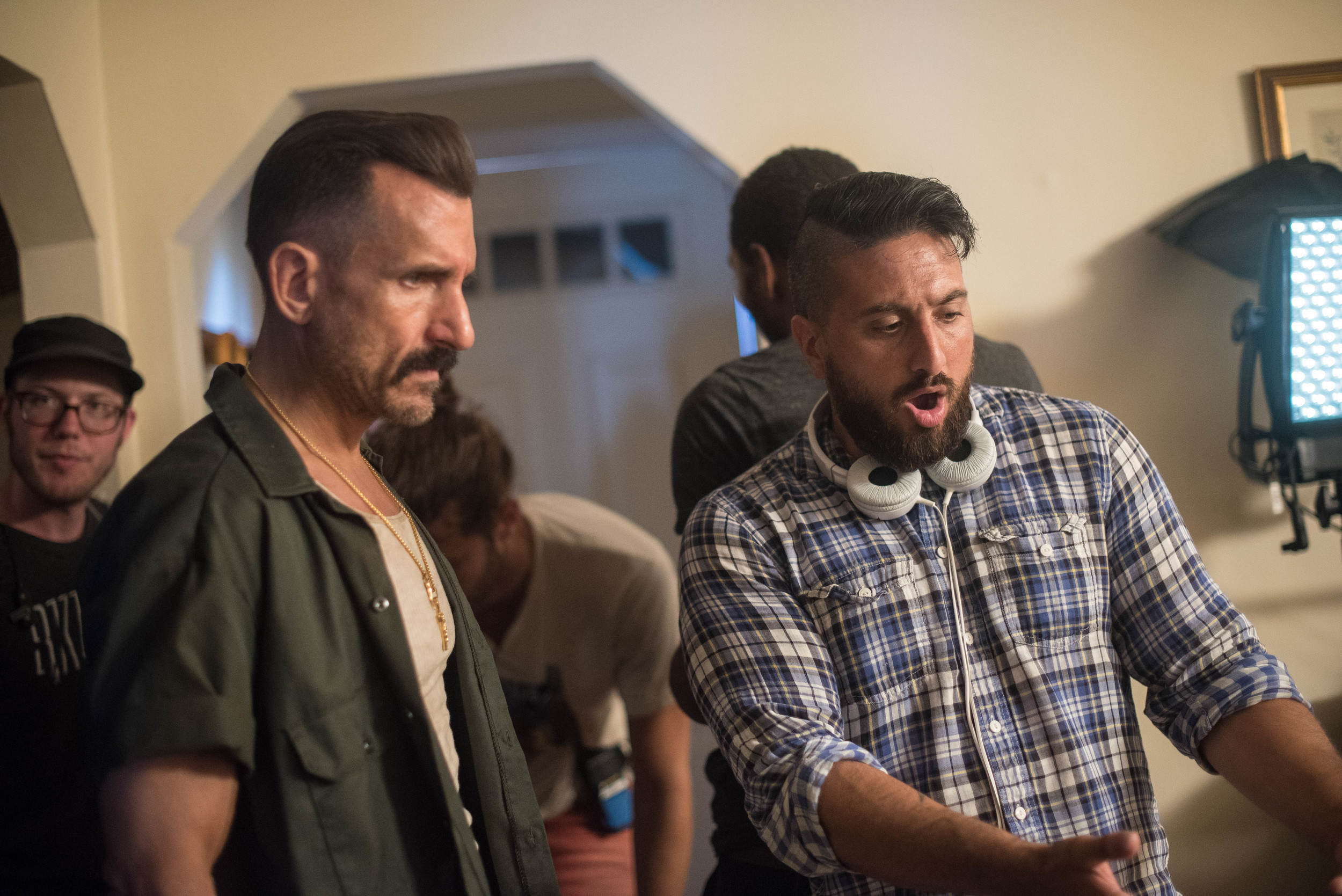 "John Budion, right, directed the coming-of-age film ""Rockaway,"" about his experiences growing up in East Rockaway. The movie will premiere at the Flickers' Rhode Island International Film Festival on Aug. 13. Wass Stevens, left, plays Budion's father."
