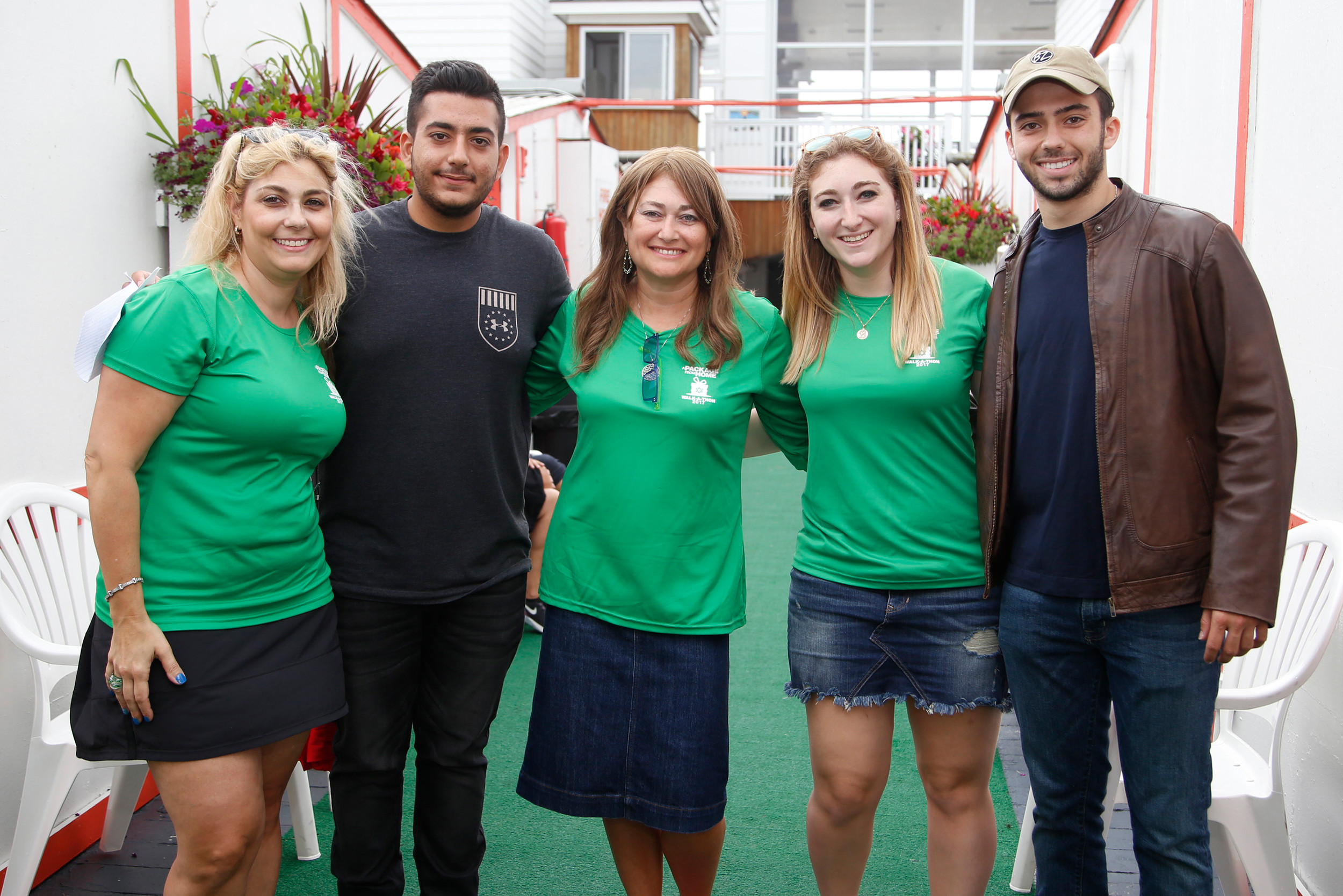 "A Package From Home donors took part in the annual walk in Atlantic Beach to support the Israel Defense Forces ""lone soldiers."" From left were organizer Ann Slochowsky, Pvt. Liran Azizian, organizers Helen Fuchs and Brenda Slochowsky, and Sgt. Ben Shor."