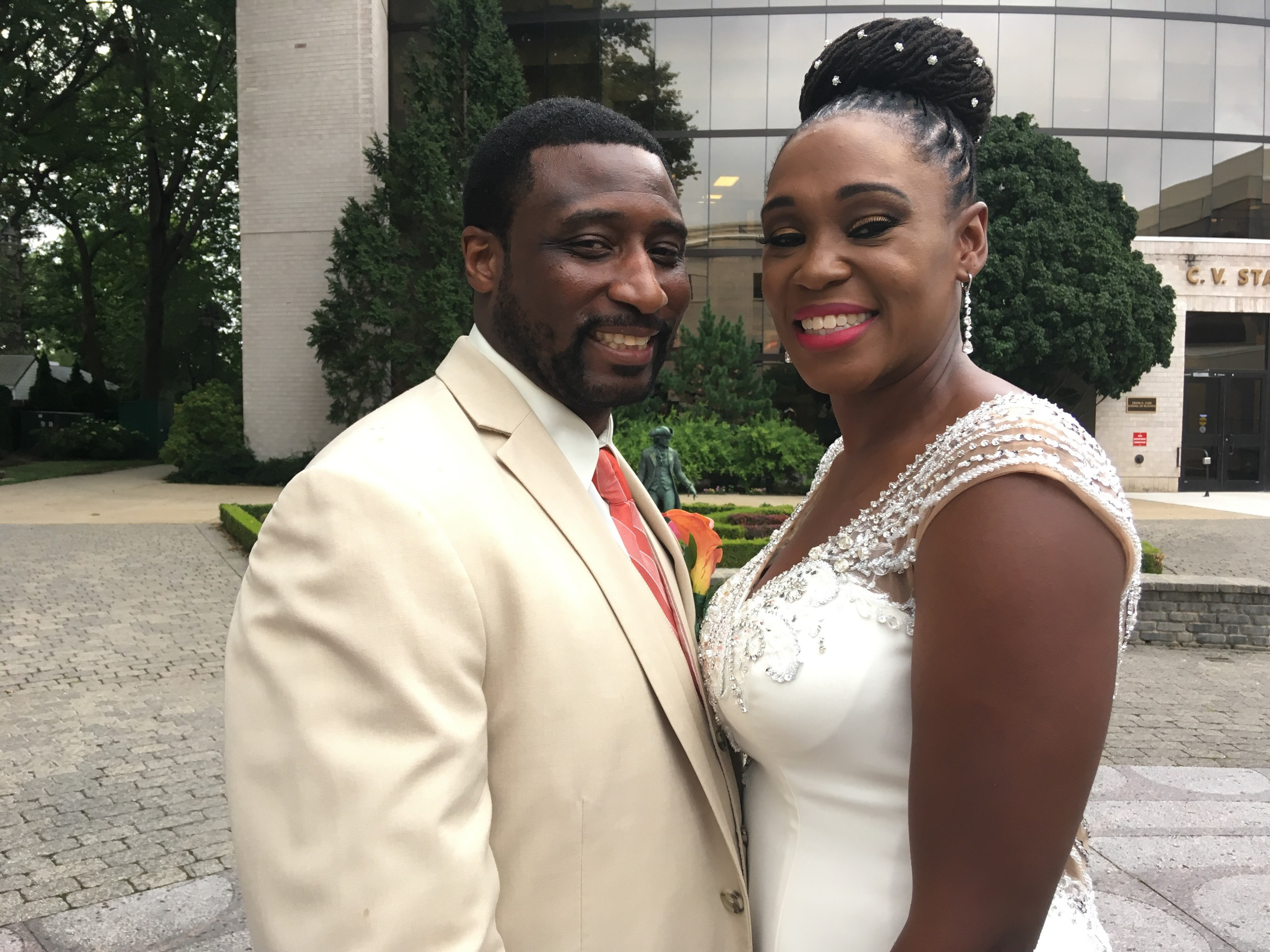 The newlyweds, Yolanda Biggs and Sean Stallings, remained friends for a while before they realized they were in love and about three years later, they got married at Union Baptist Church in Hempstead.