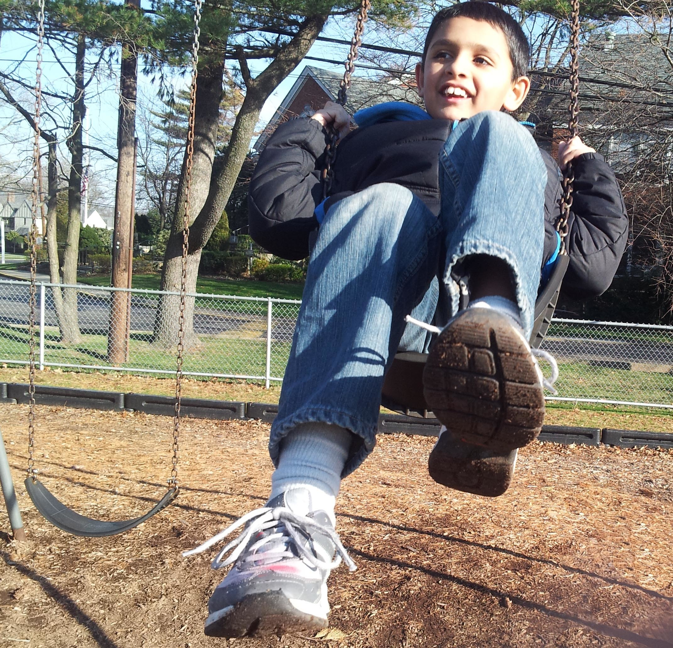 After Debbie Stone noticed that her son Dylan would not go near the new swing set she bought, she discovered a form of therapy that quickly helped him become familiar with the swings.