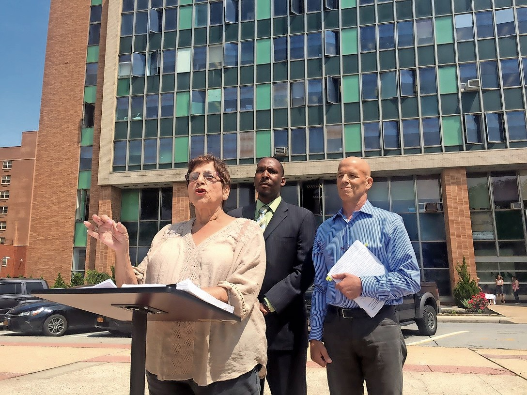 Democratic City Council candidates Barbara Bernardino, left, Runnie Myles and Joe Miccio at a June 16 news conference.
