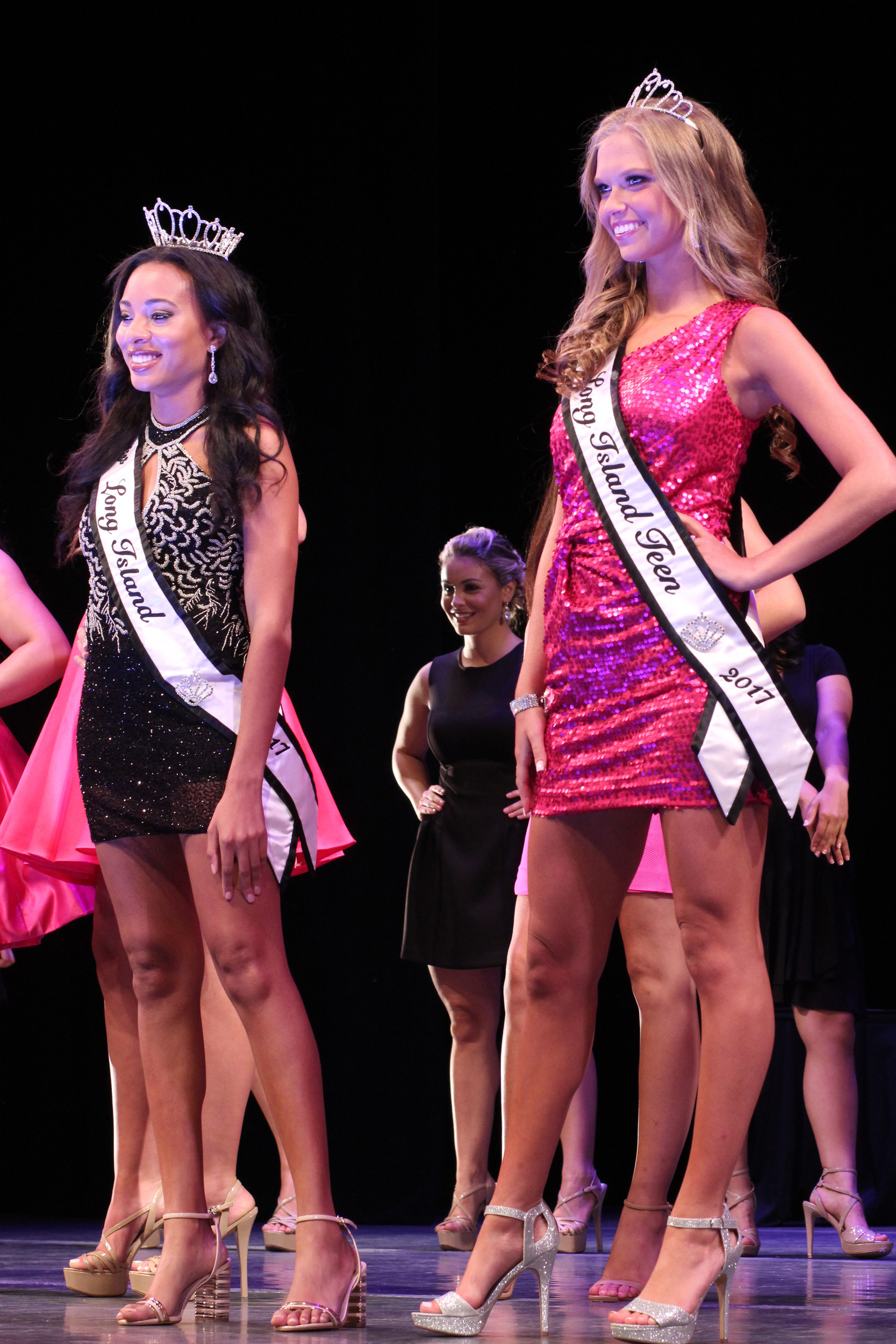 Past winners, Miss Long Island 2017 Ashley Edwards, left, and Miss Long Island Teen 2017 Taylor Yaeger took the stage.
