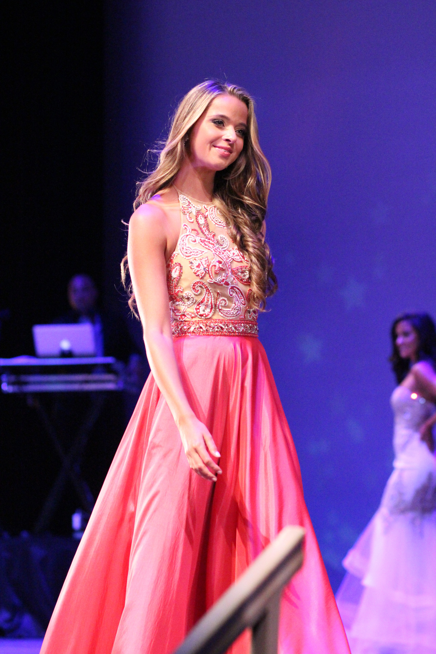 Kaelee Hohmann, 17, of Oyster Bay, was the first to walk the stage in the evening gown competition.
