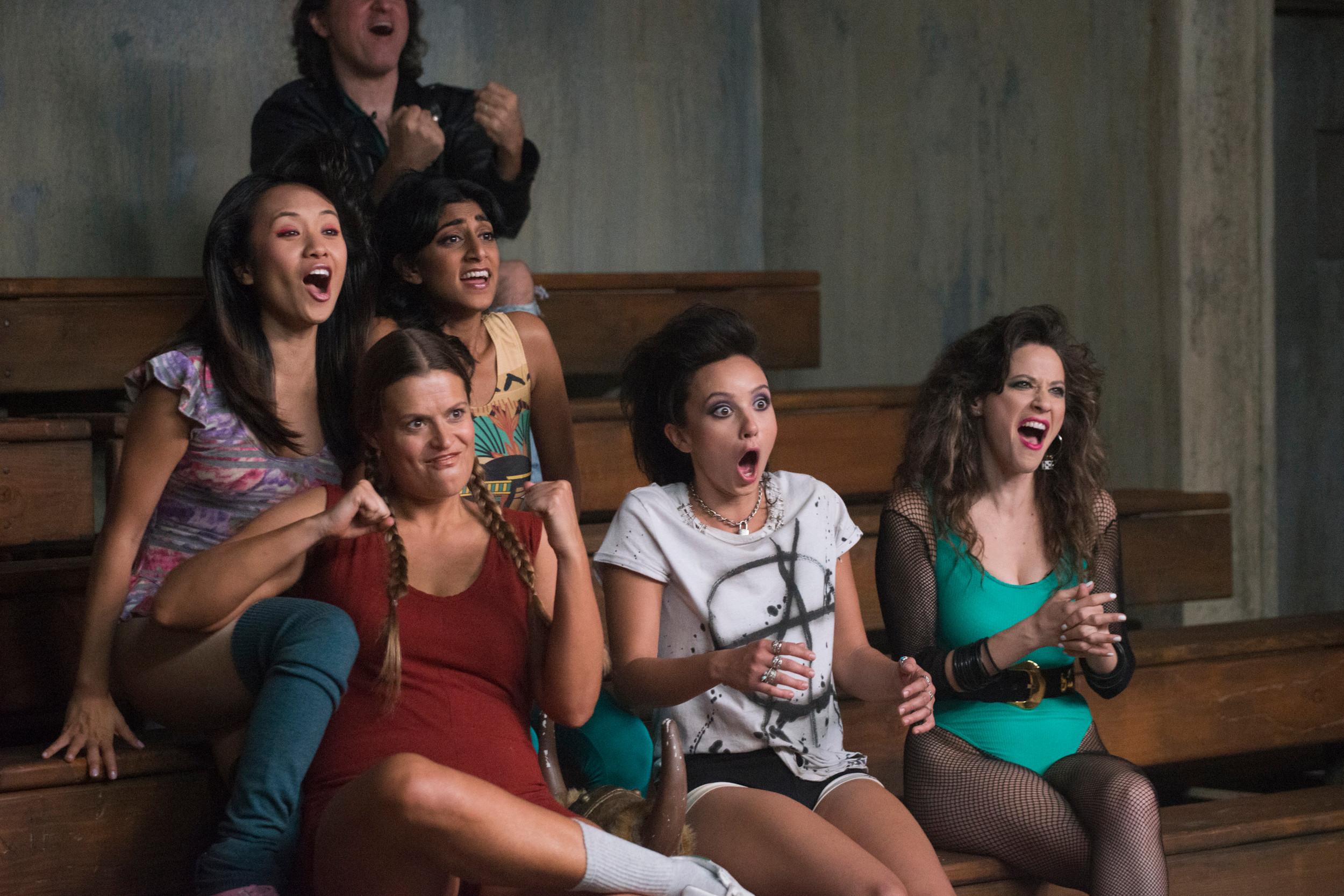 Tohn, far right, stars alongside a large ensemble cast of funny women.