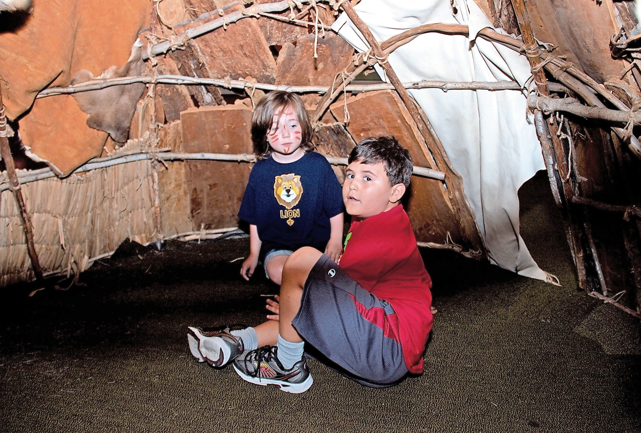 There is always plenty for children to do at the museum, which is marking its 50th anniversary. Declan Brosnan, 5, left, and Benjamin Attias, 6, explored a wigwam.