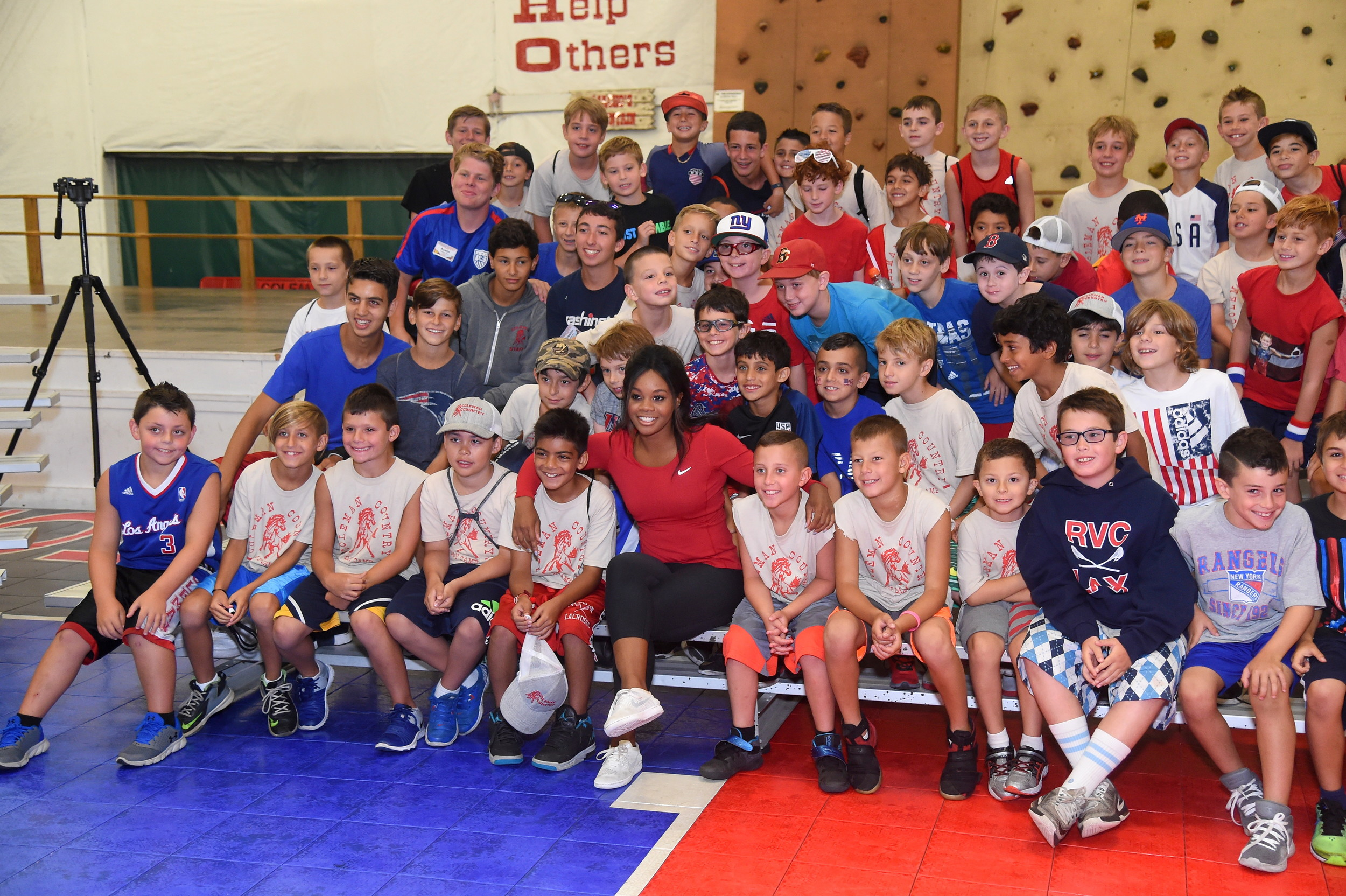 All the campers leaned in to share a photo with Olympian Gabby Douglas.