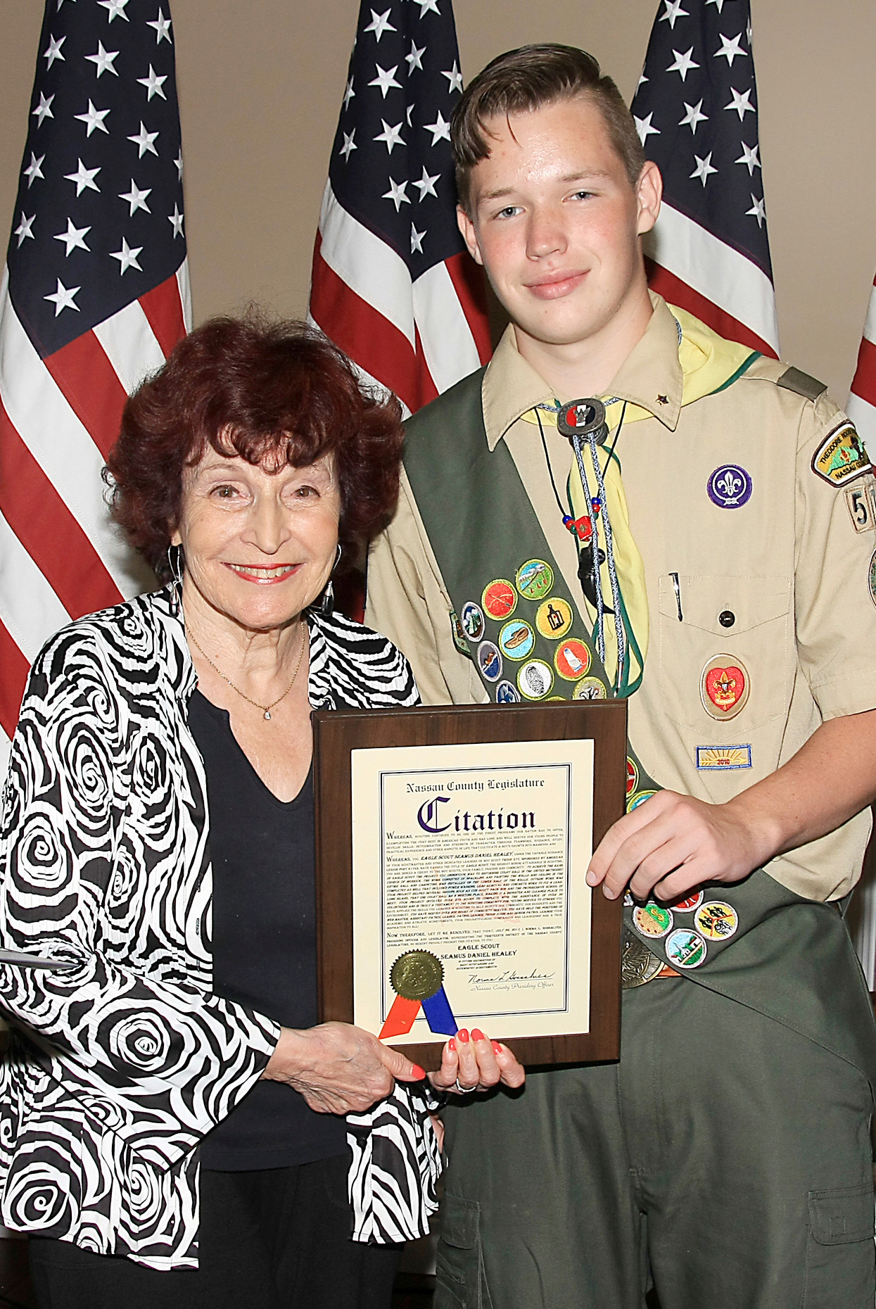 Seamus Daniel Healey was presented with a citation at his Eagle Scout Court of Honor by Nassau County Legislature Presiding Officer Norma Gonsalves.