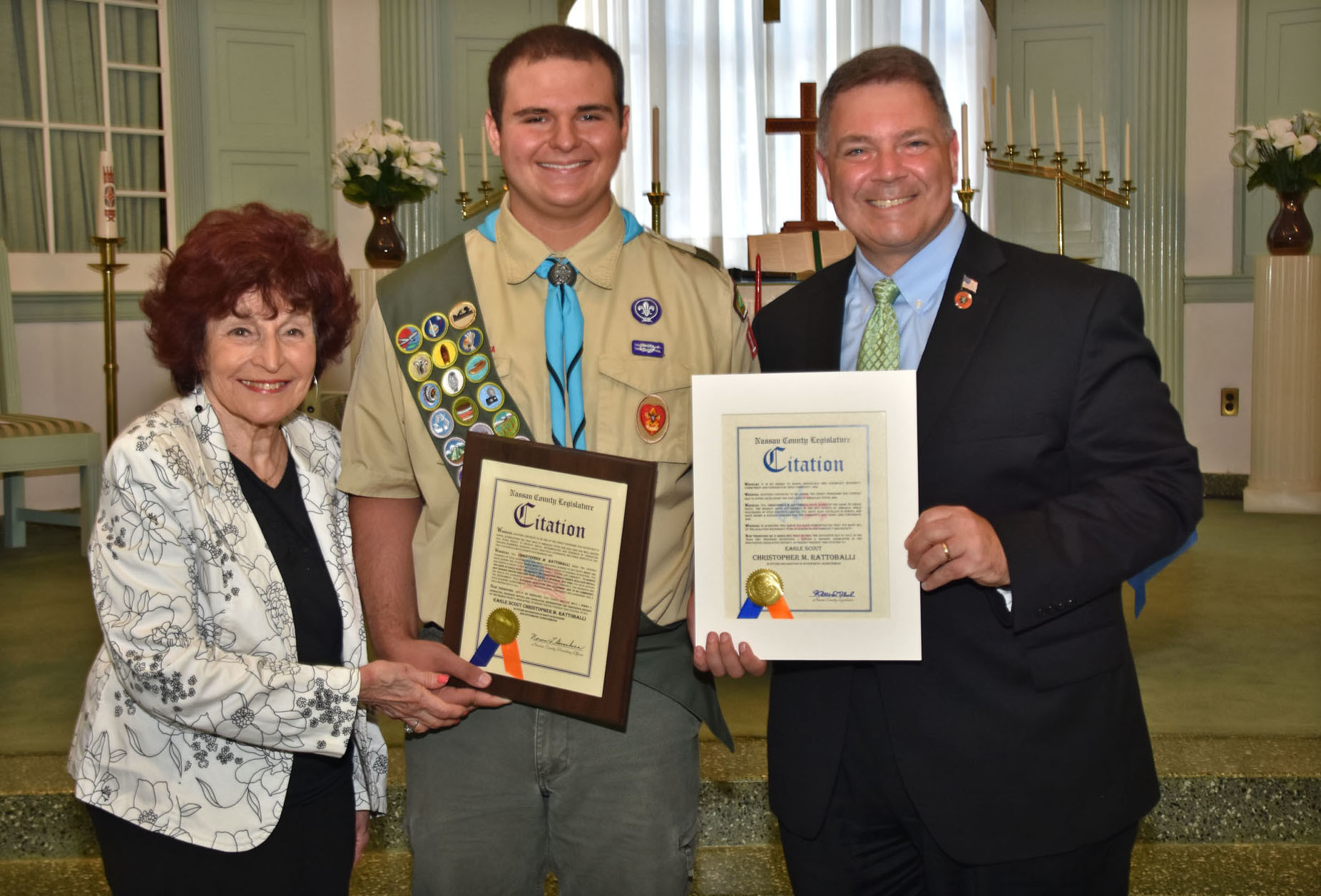 Christopher M. Rattoballi was presented with a citation at his Eagle Scout Court of Honor by Nassau County Legislature Presiding Officer Norma Gonsalves and Legislator Steve Rhoads.