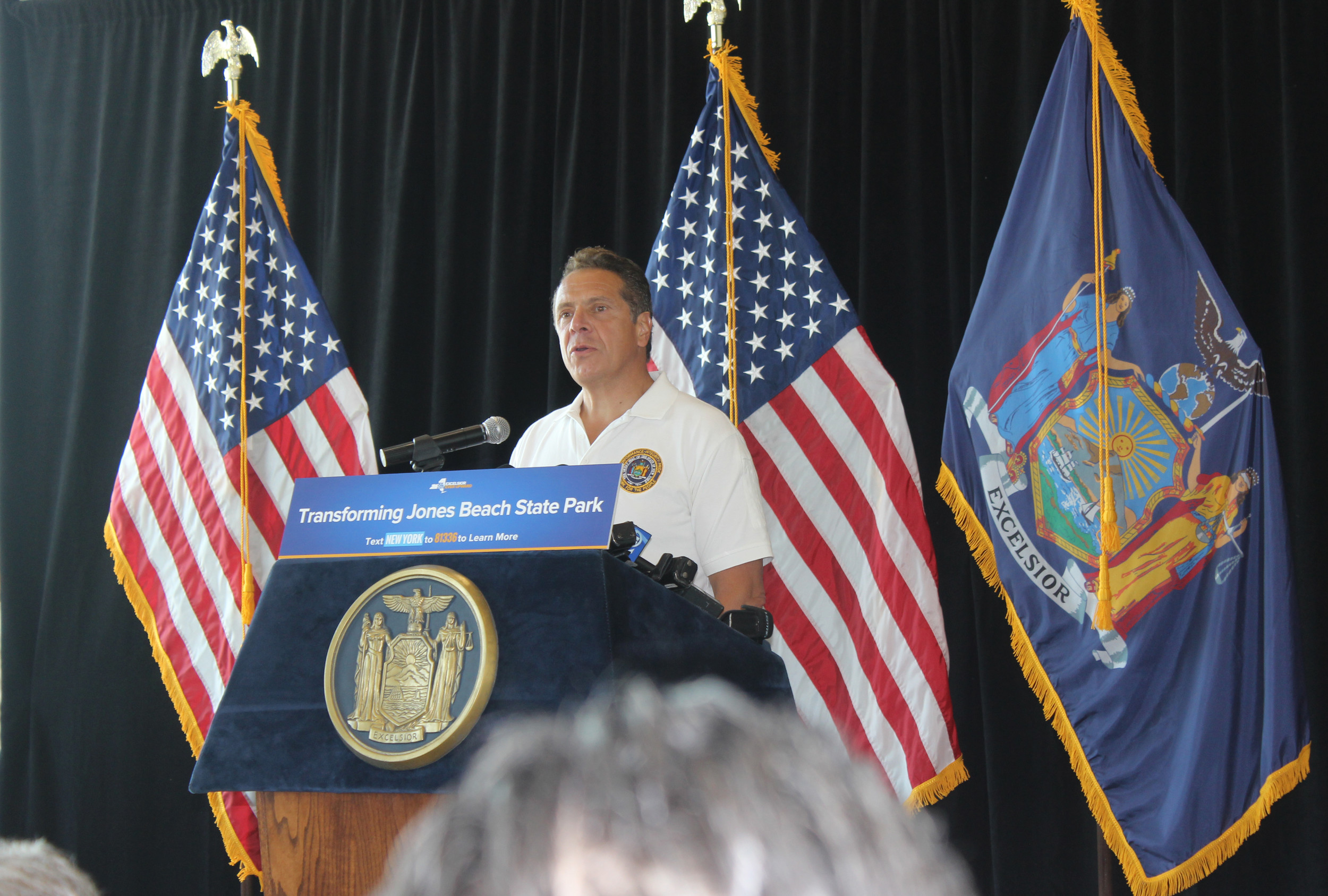 Gov. Andrew Cuomo announced August 2 the next steps in the state's Jones Beach restoration project, which include building a water park and zip line.
