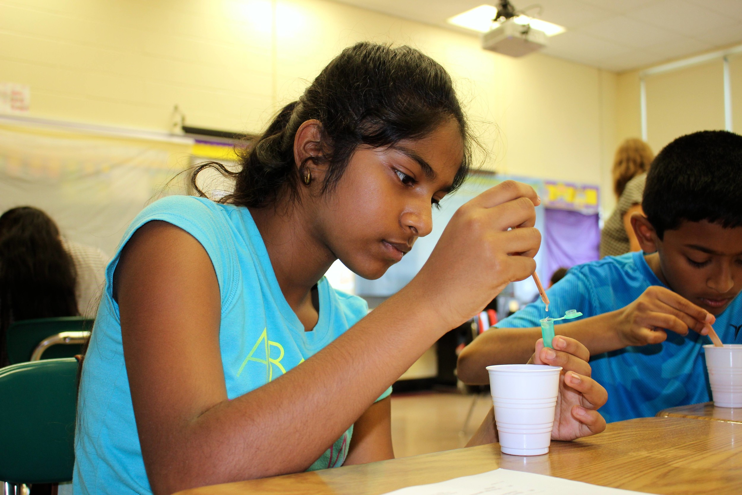 Stewart Manor School student Annmarie Kurien extracted her strawberry's DNA.