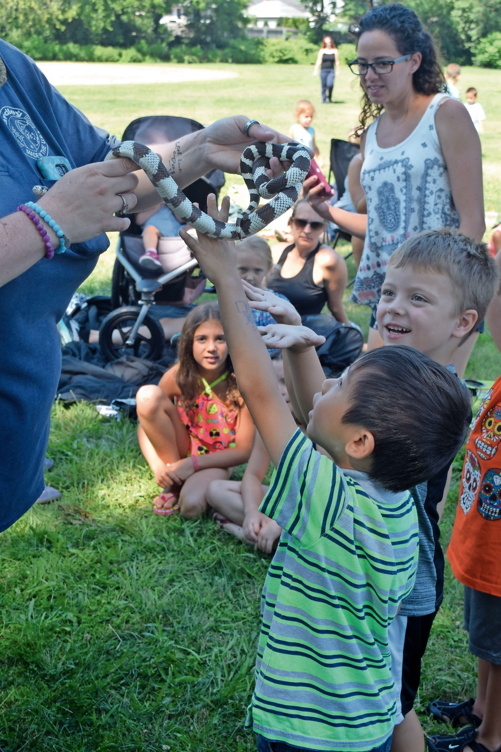 Children pet snakes and other creatures during the event.
