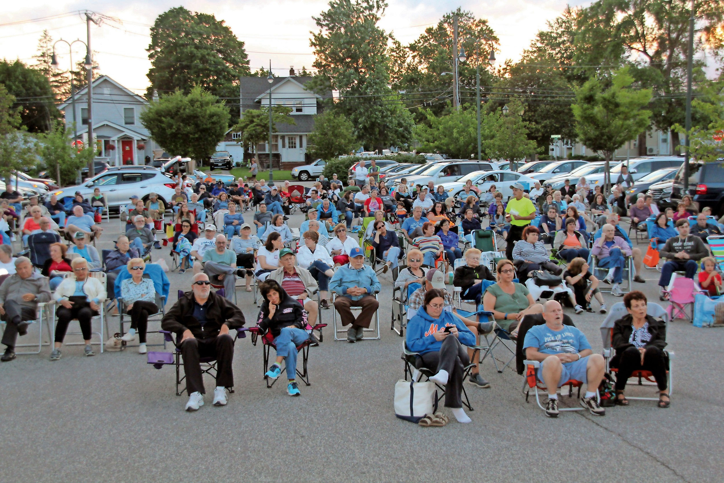 Hundreds of residents attended the concert, which was held in the parking lot next to the library.