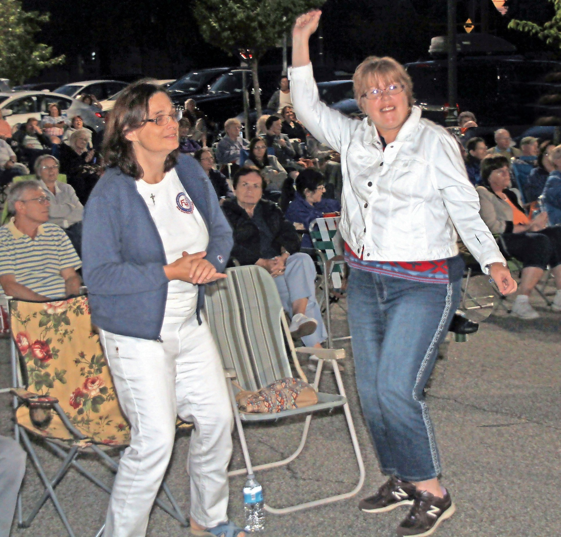 Andrea DiGregorio, left and Ann Von Werne danced to the music.