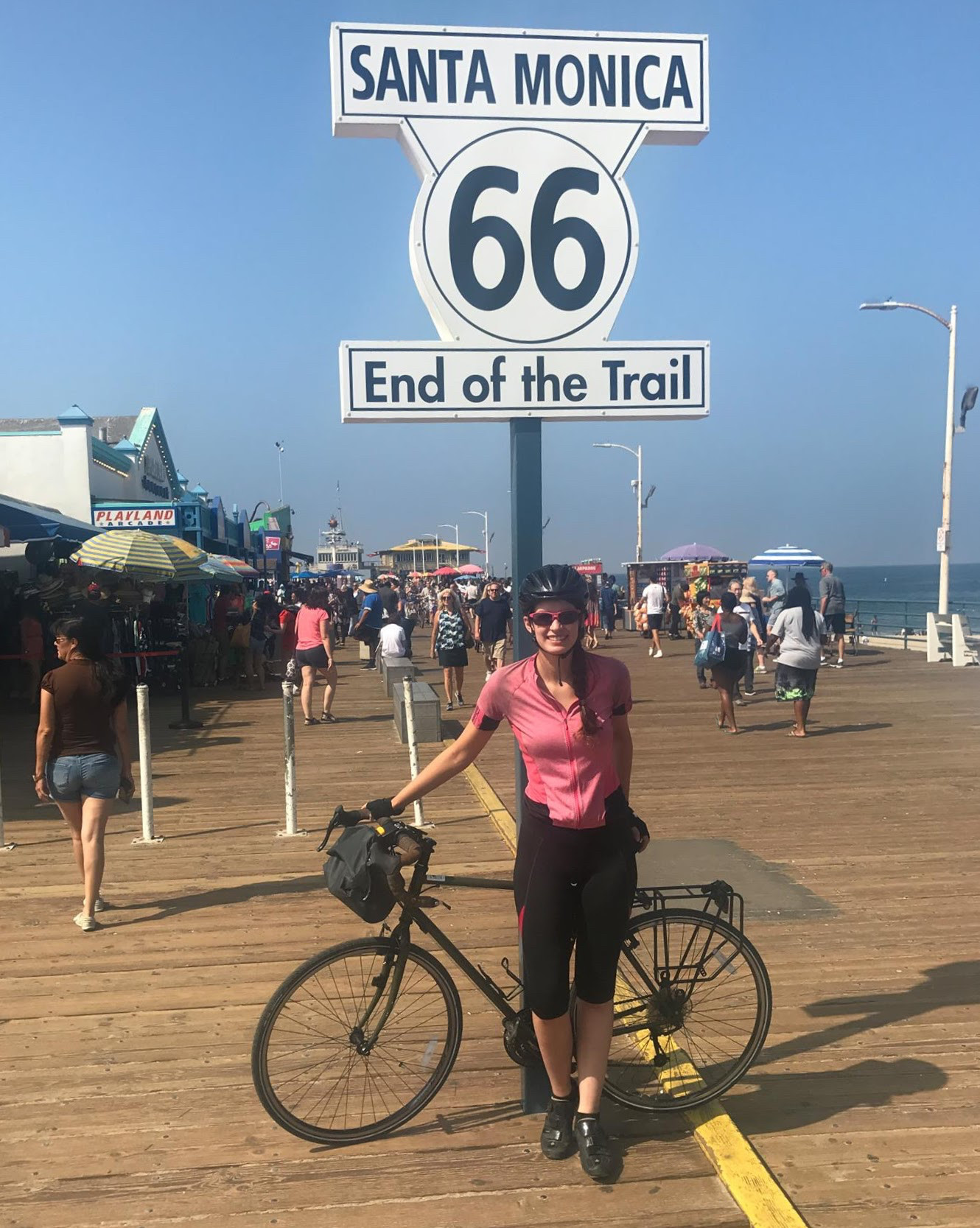 Sarah O'Connor arrived in Santa Monica, Calif. on Sunday after a two-month, cross-country bike trip.