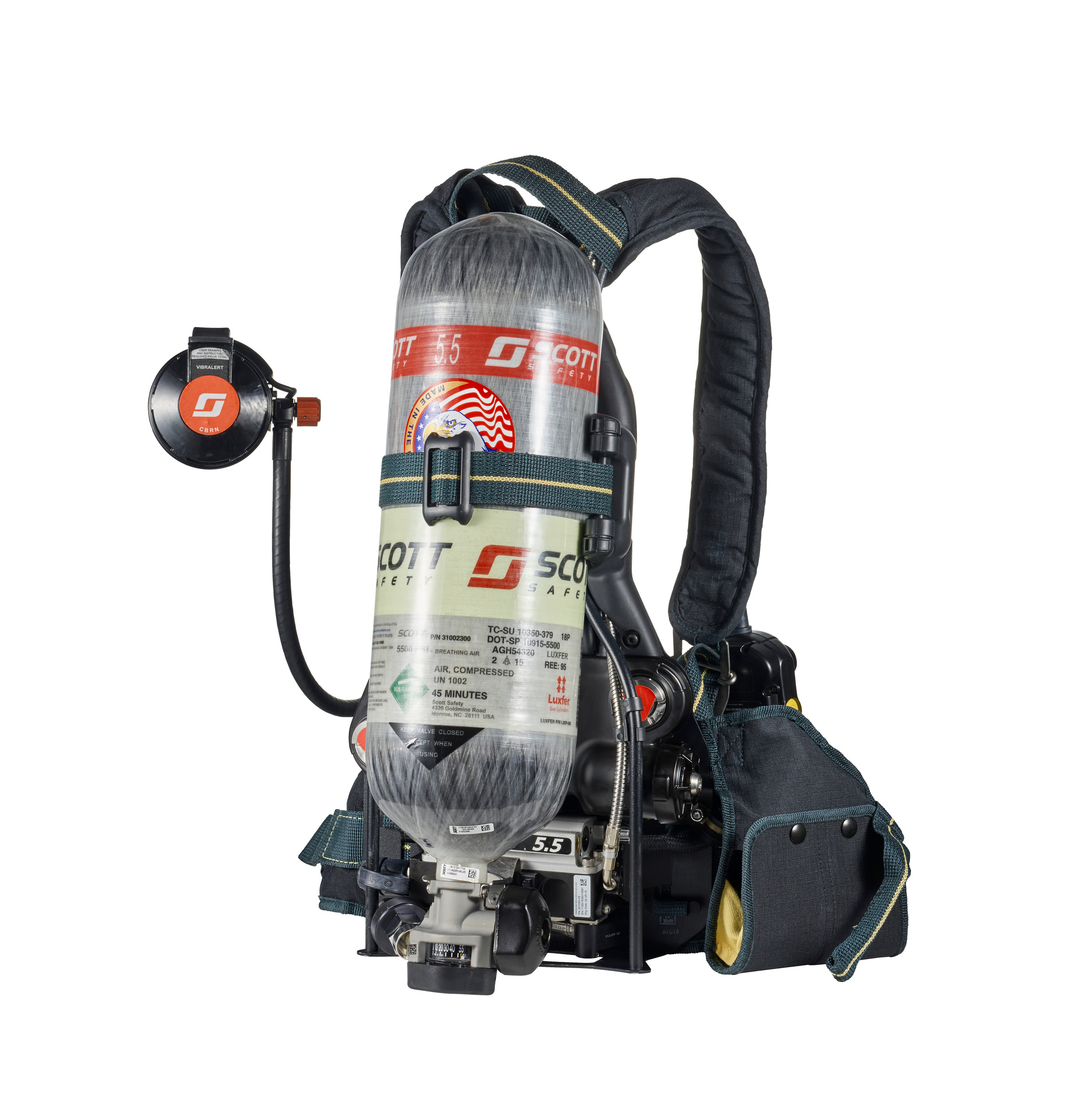 A self-contained breathing apparatus used by firefighters and manufactured by Scott Safety.