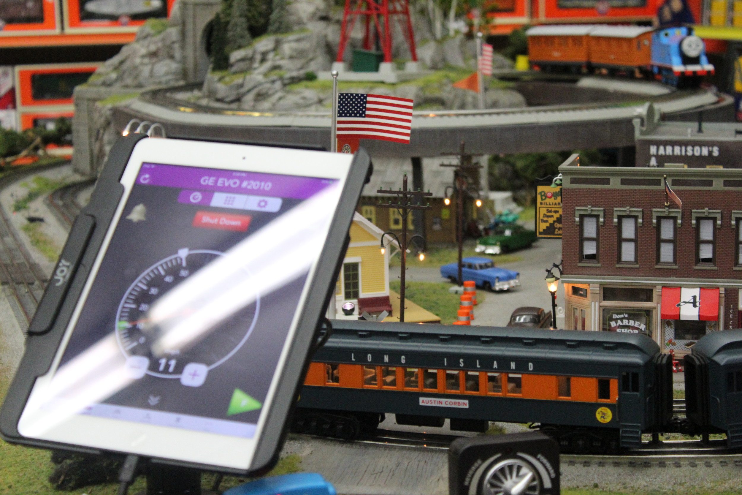 Newer train sets can be controlled by apps on tablets.
