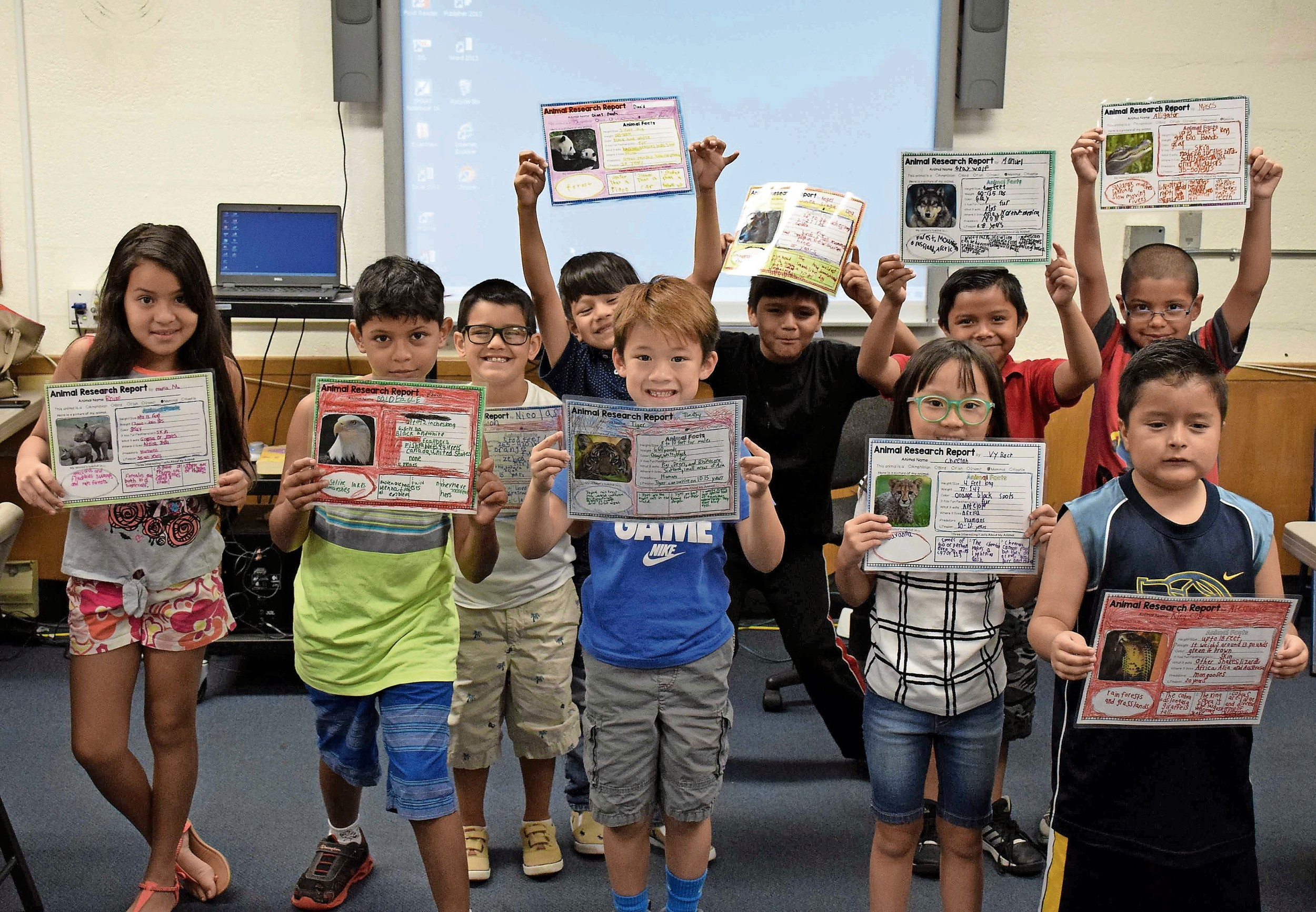 Students in the Levittown School District's summer ENL Jumpstart program researched dinosaurs and created short reports.