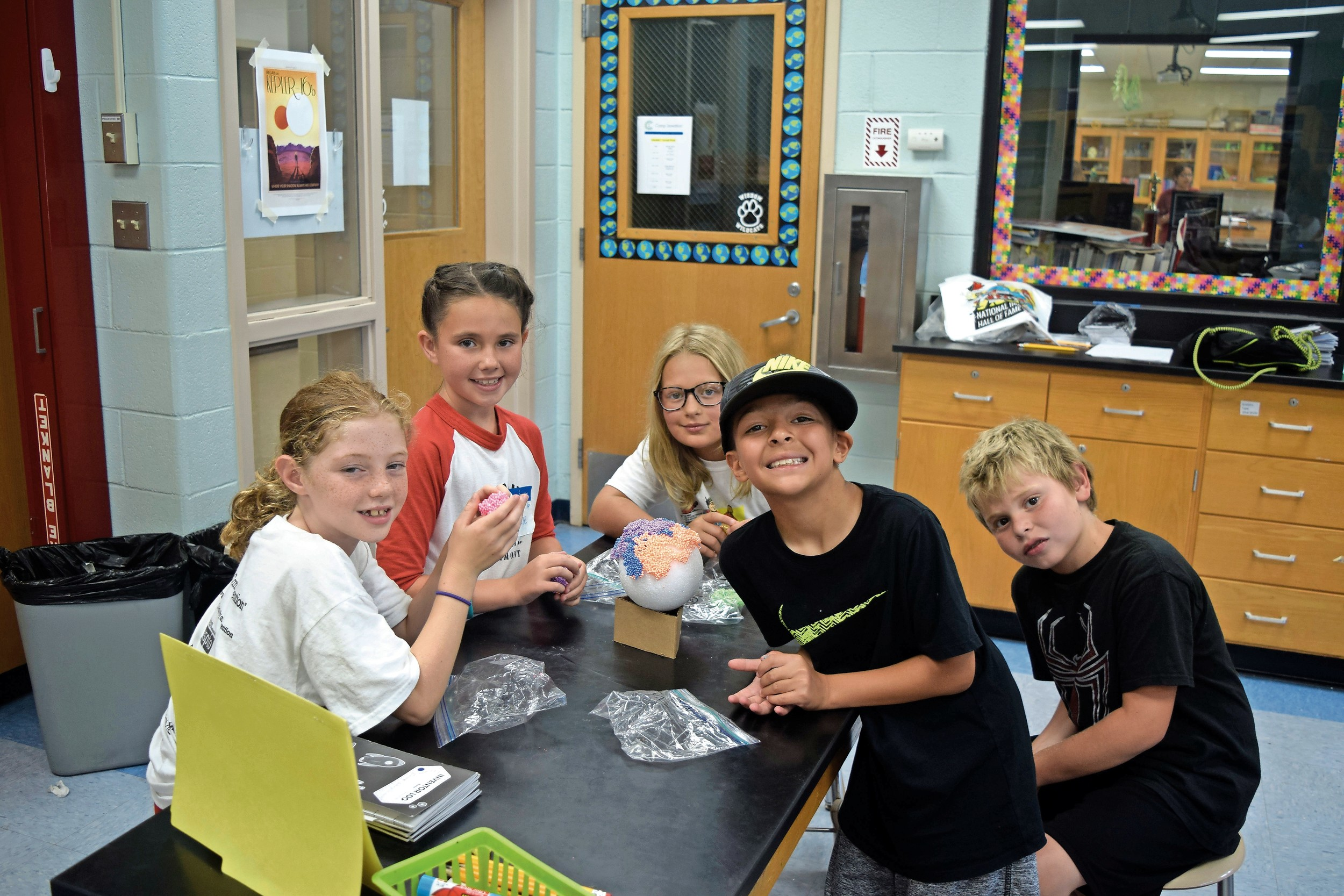Campers created their own planets using foam and other materials during a Mission Space Makers session.