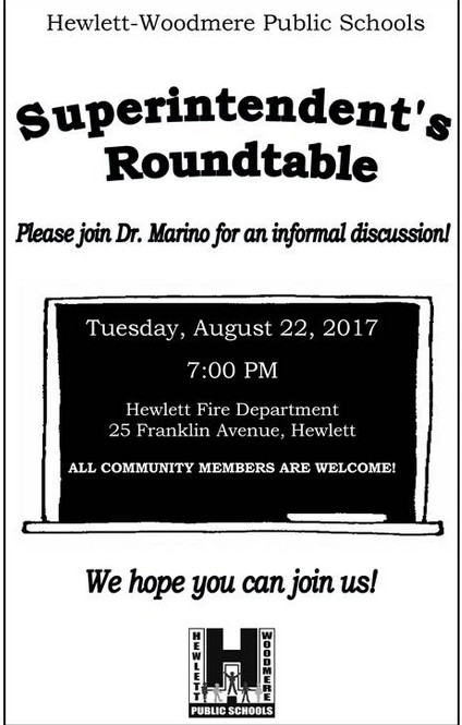 Hewlett-Woodmere School District Superintendent Dr. Ralph Marino will speak to community members on Aug. 22.