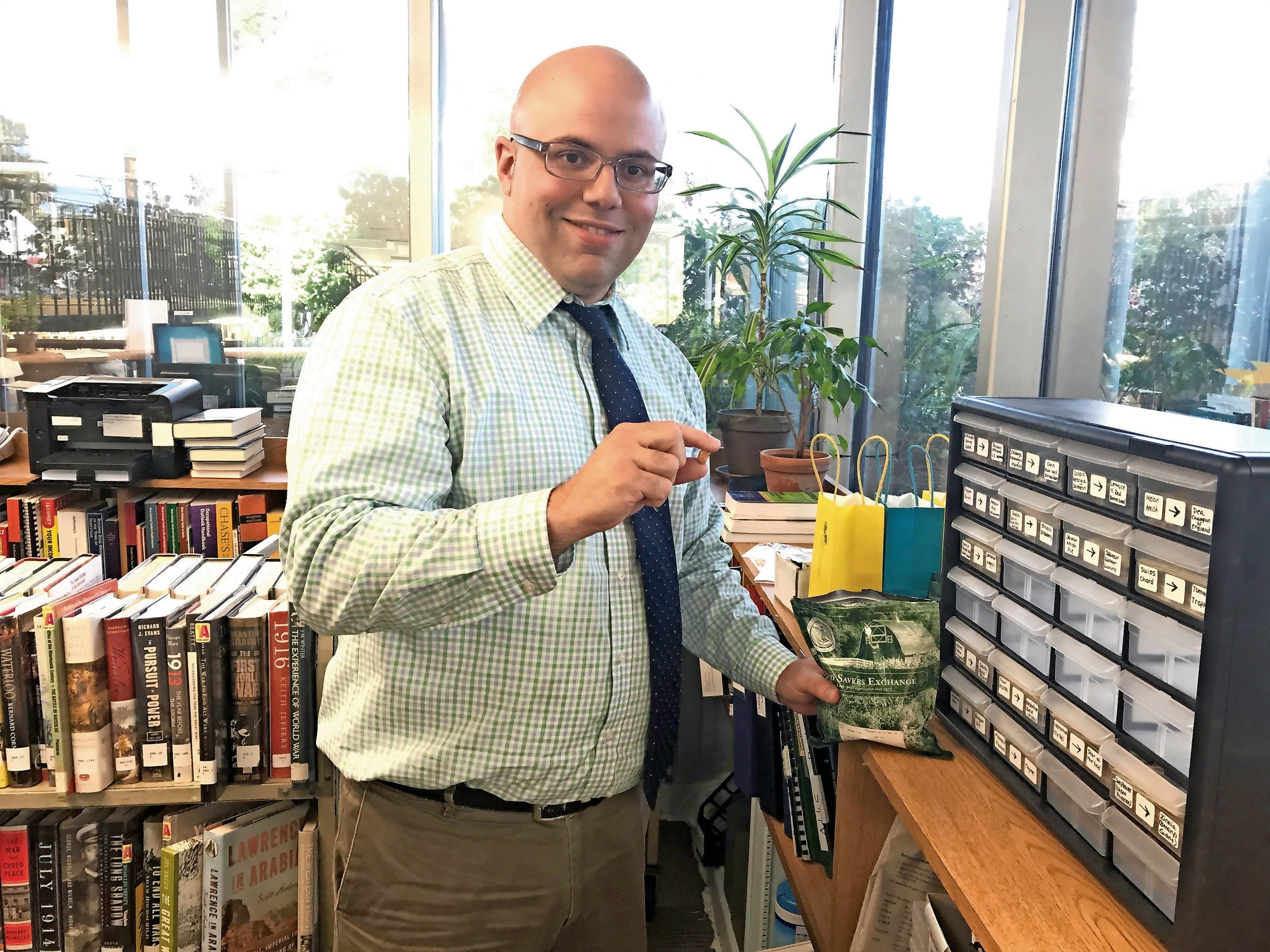Ian Smith, head of reference, developed the seed library in Wantagh.