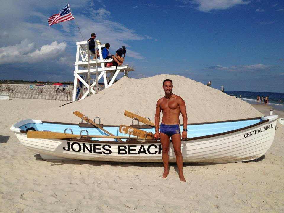 Jones Beach lifeguard supervisor Cary Epstein on the beach at the Central Mall.
