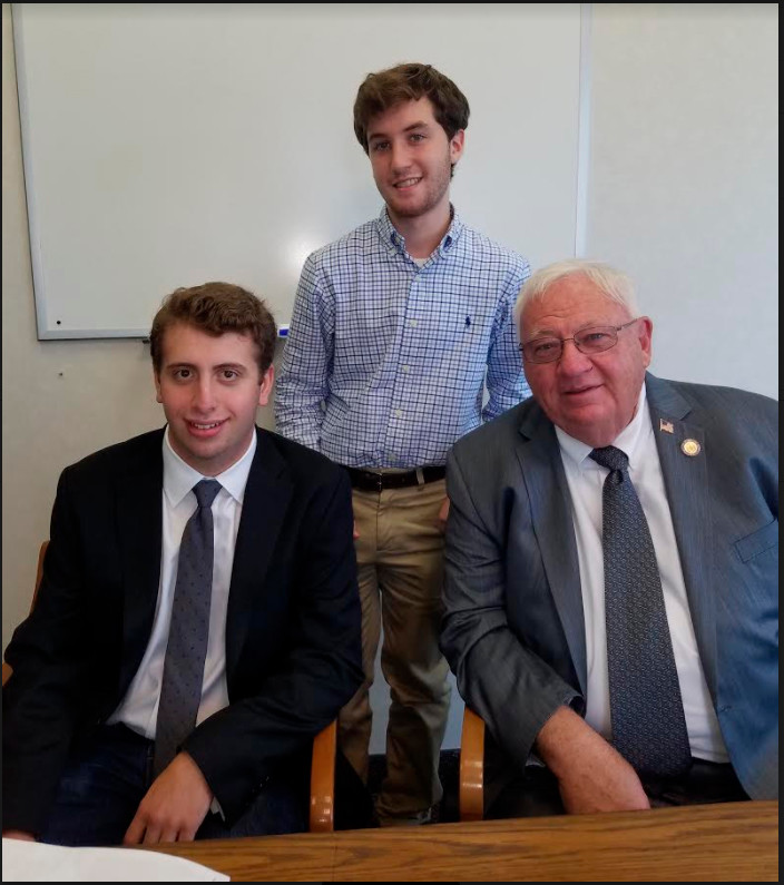 Matt Garber, left, and Jonathan Ellison, graduates of Calhoun High School, interned this summer with District 8 Senator John Brooks.