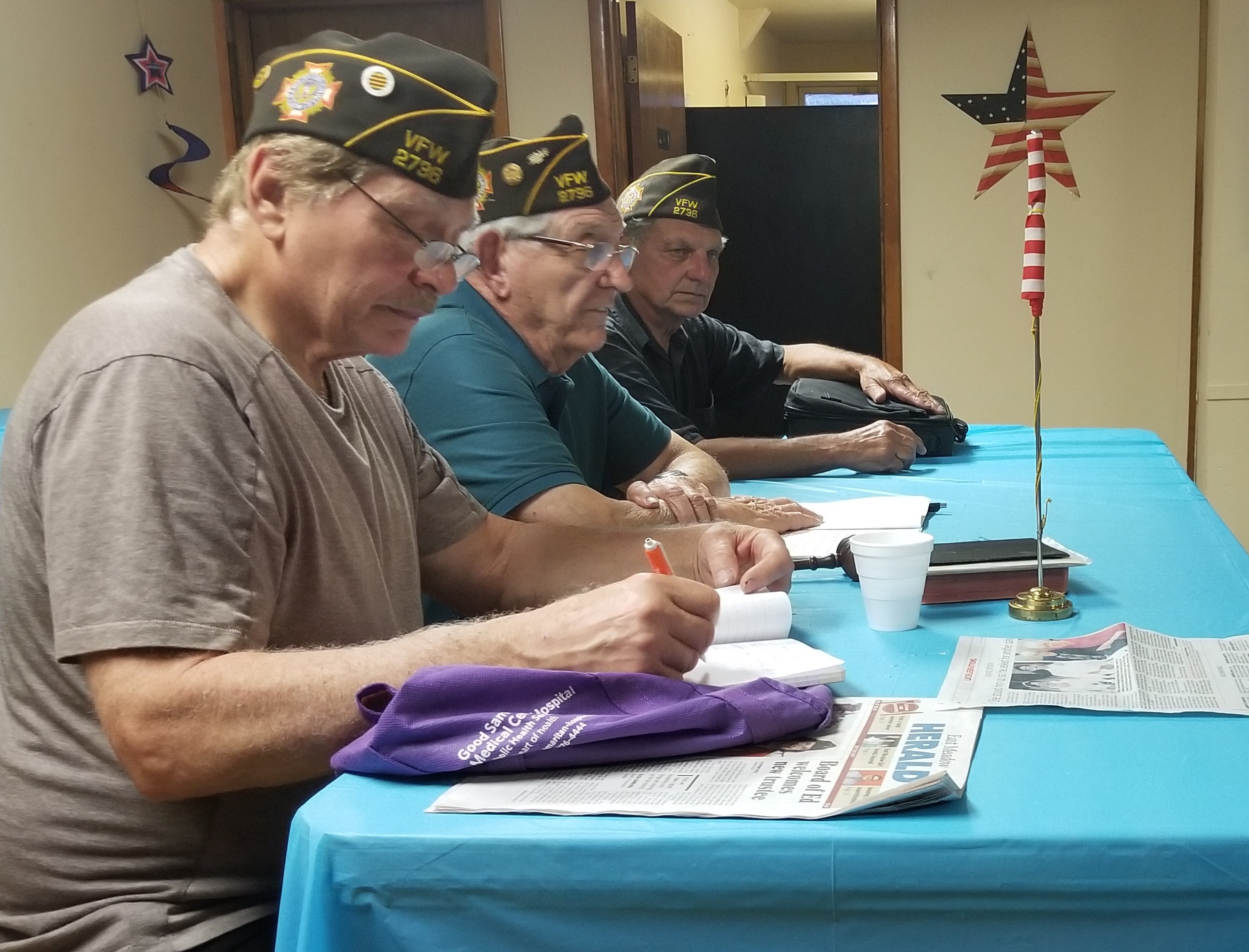 Bill Lattarulo, 72, Commander John Mallico, 90, and Quartermaster Frank Salamino, 72, greeted the remaining members during of the local Veterans of Foreign Wars post at its Aug. 7 meeting.