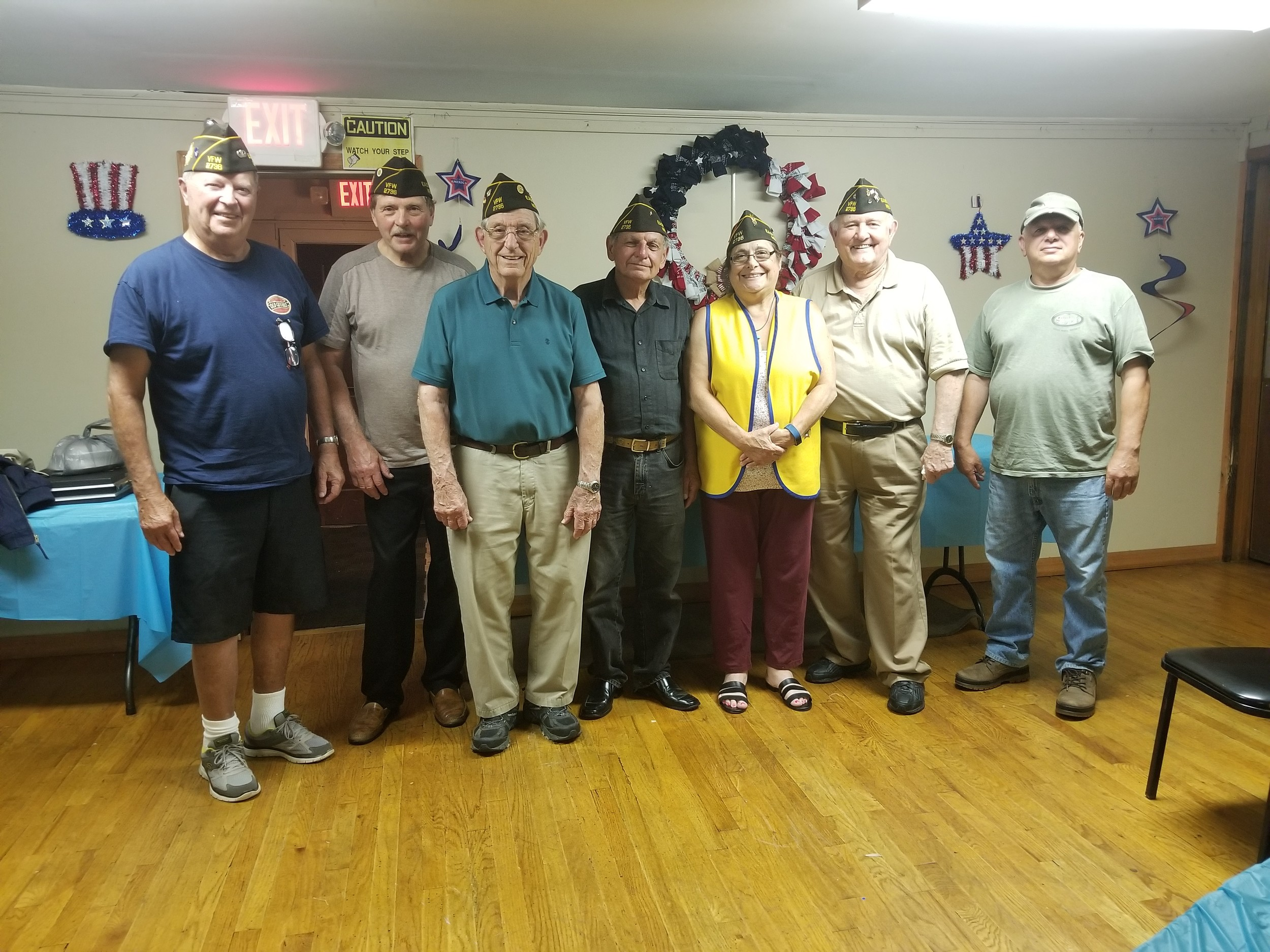 Members of the VFP Post 2736 Salvatore Del Rise, far left, Bill Lattarulo, John Mallico, Frank Salamino, Stephanie Rossetti, and Andy Phortsch welcomed new member Richard Barelli, far right.