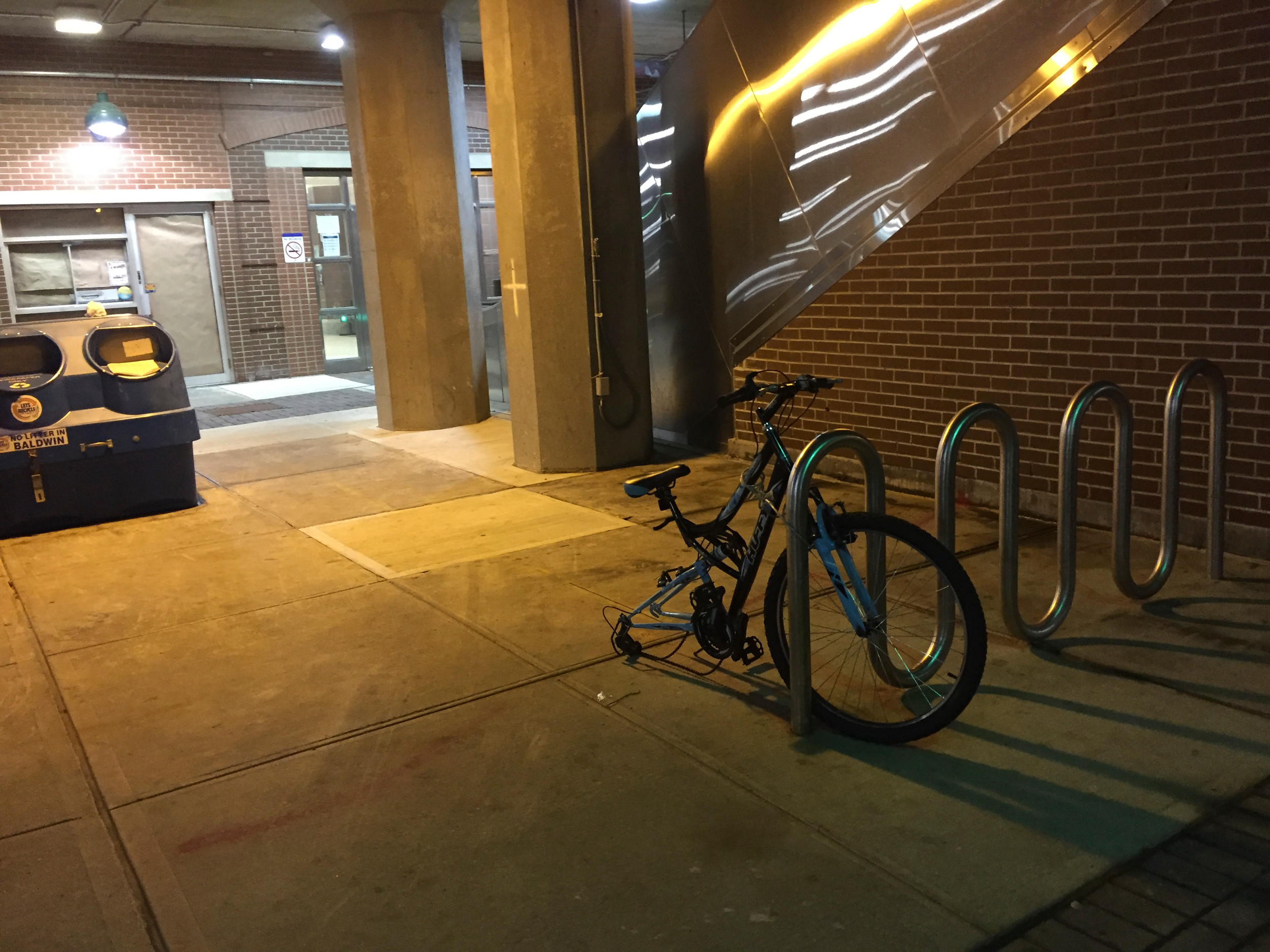 Some bicyclists have taken to removing their wheels to prevent thefts.