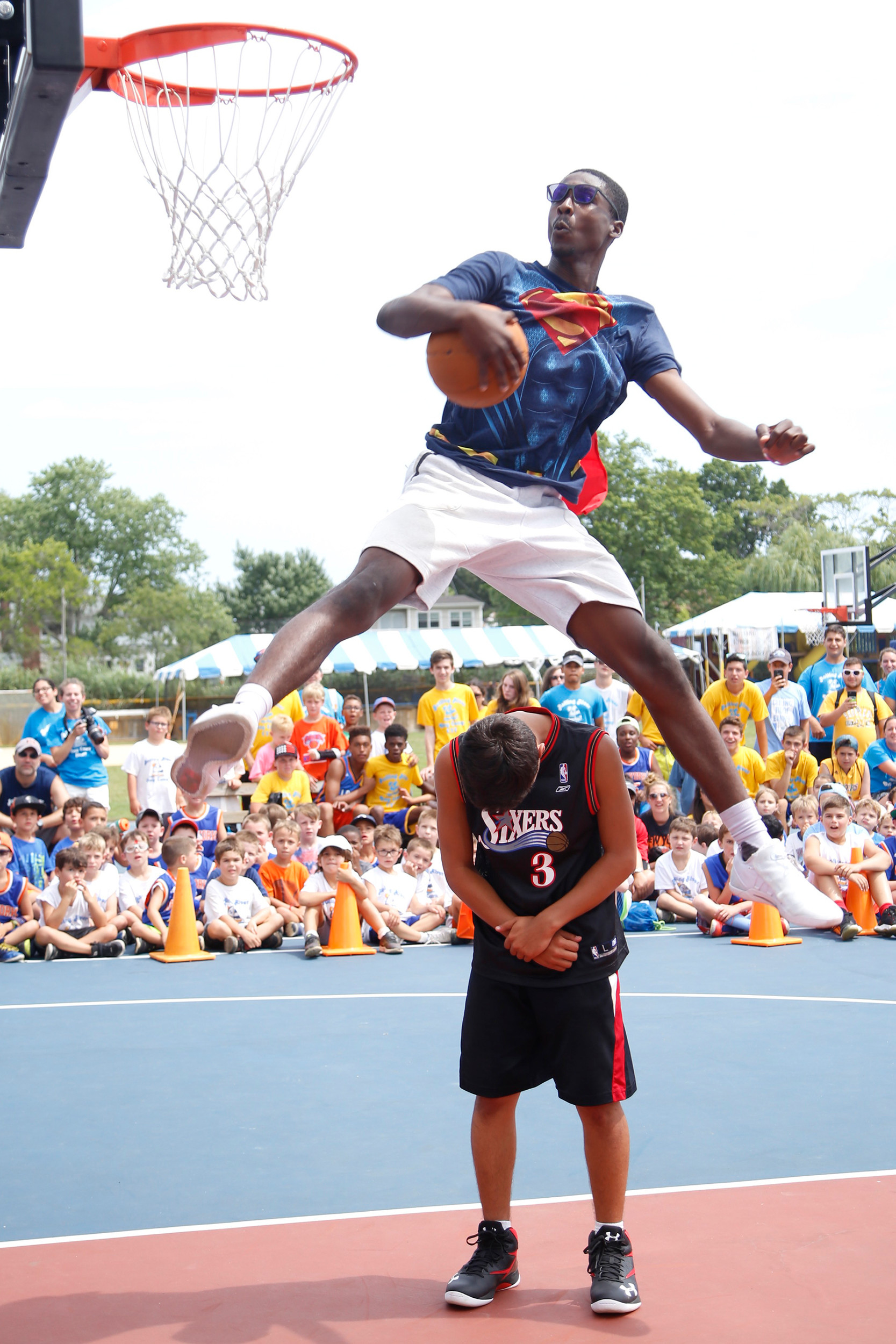 "Baker was part of many events throughout the day, including the slam dunk contest. Keiron ""Kay"" Jeremiah of Brooklyn leaped over one of his friends when it was his turn to show his skills."