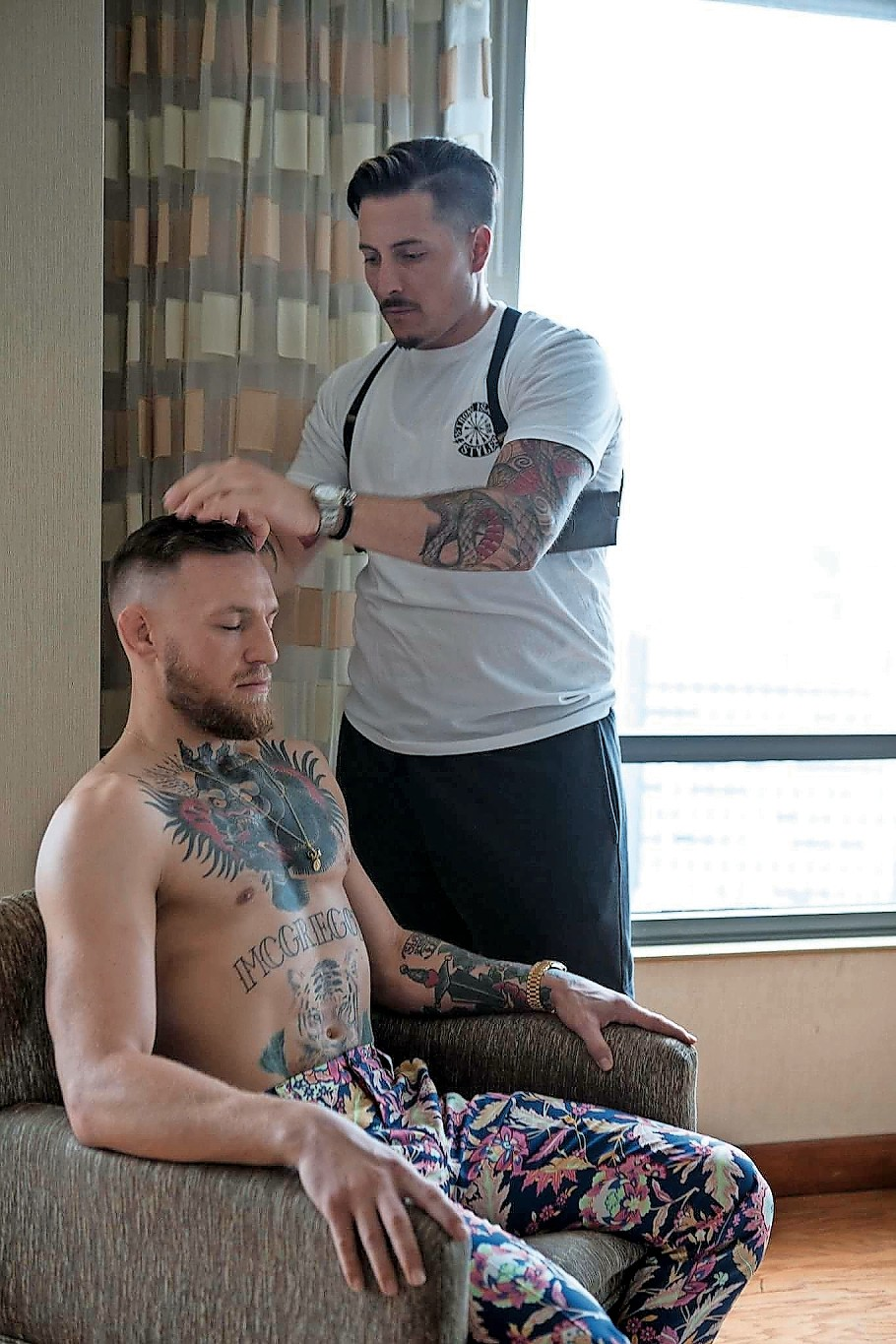 Basile said that he has given haircuts to several celebrities in the past, but he admitted that he was a little intimidated when he cut McGregor's hair.