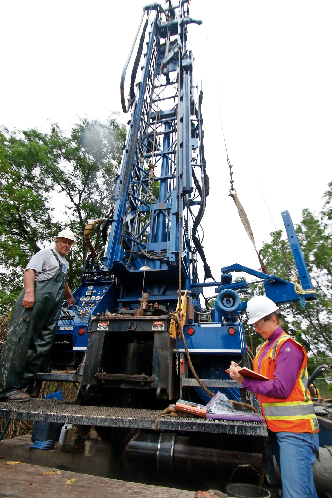 The New York State Department of Environmental Conservation is drilling an exploratory well on Seamans Neck Road to study the Grumman plume.