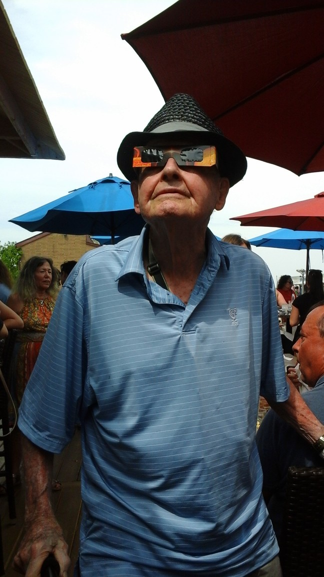 Navy veteran Charles Remick, 91, witnessed his second solar eclipse. His first was in 1935, when he was 8.