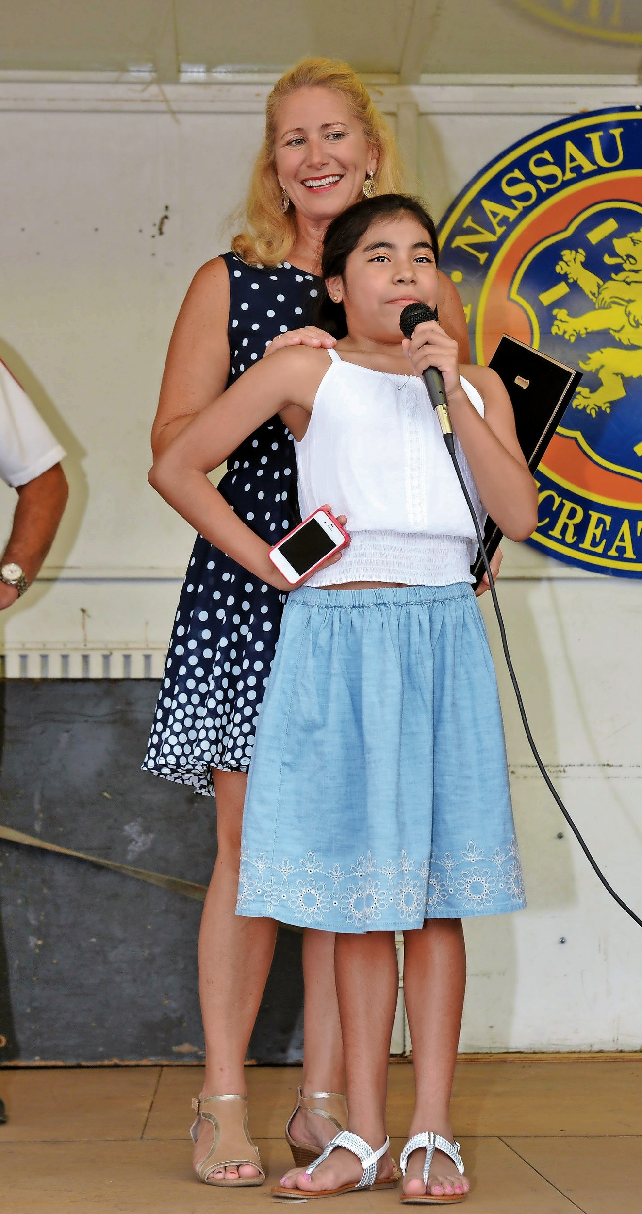 Eleven-year-old Mia Tyler came to Glen Cove's National Night Out, where her kidney donor, Coleen Spinello, was honored for her work as a child and community advocate.