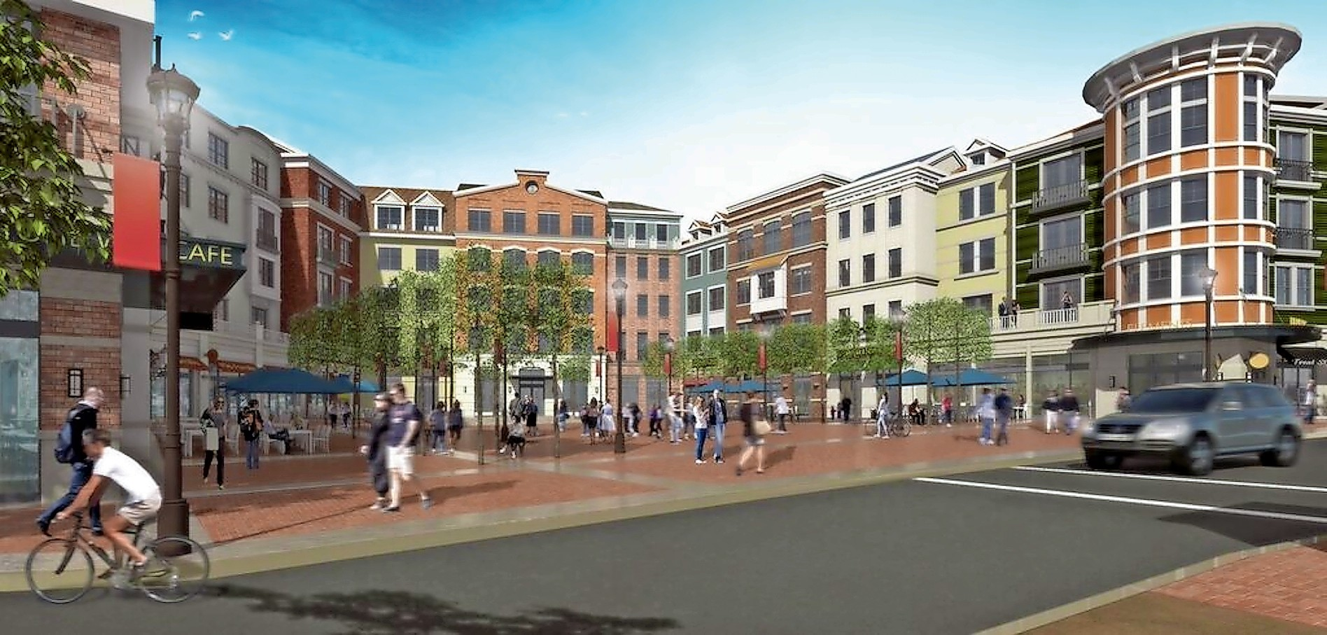 A rendering of the new Village Square shows what people will see when they enter the downtown.