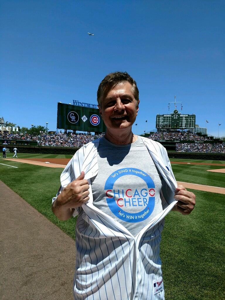 Carl Giammarese sings the national anthem at a Cubs game every year