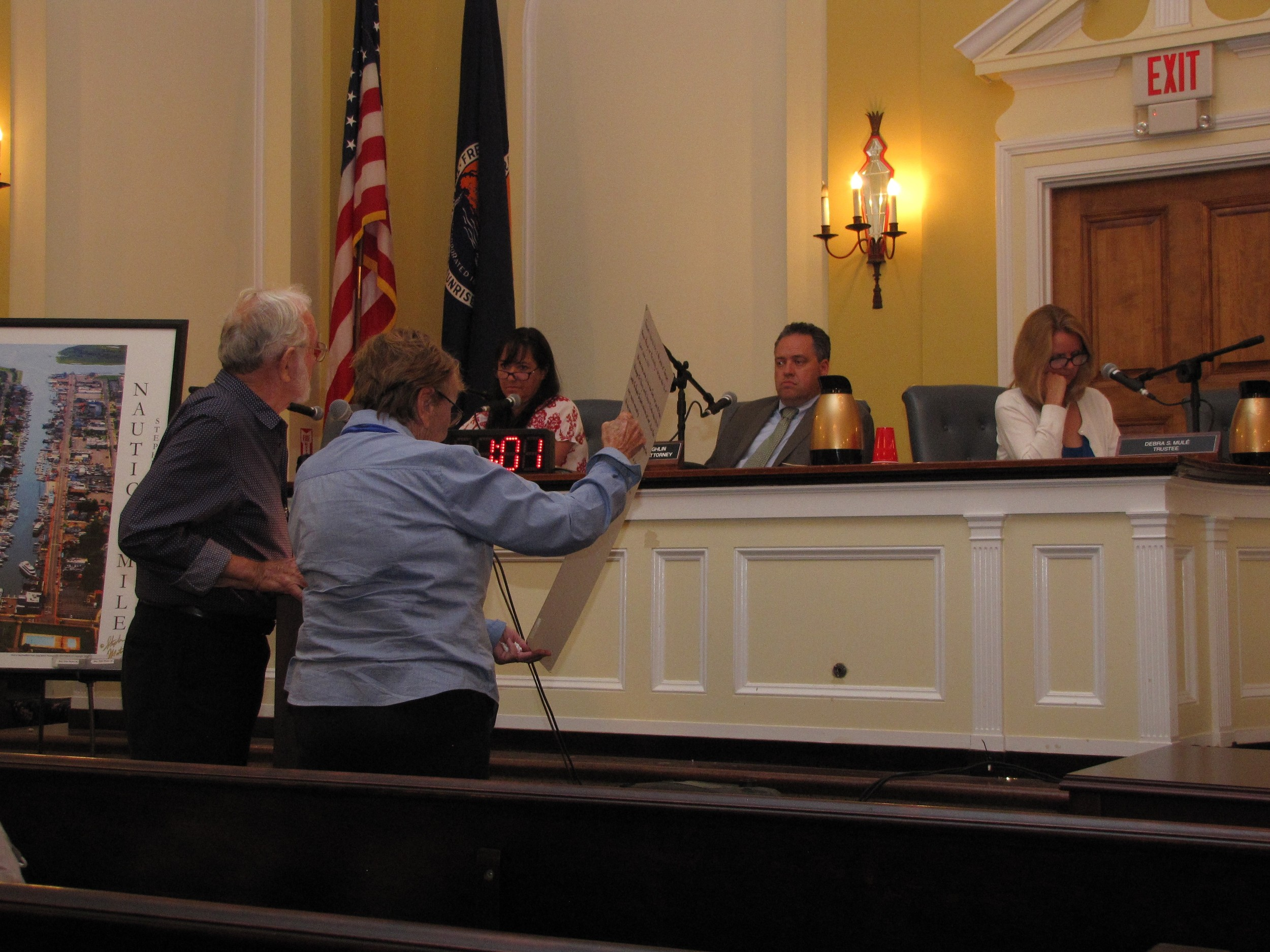 Al and Rosemary Grover, addressed the Freeport board of trustees at the Aug. 21 meeting, which focused on parking on the Nautical Mile.