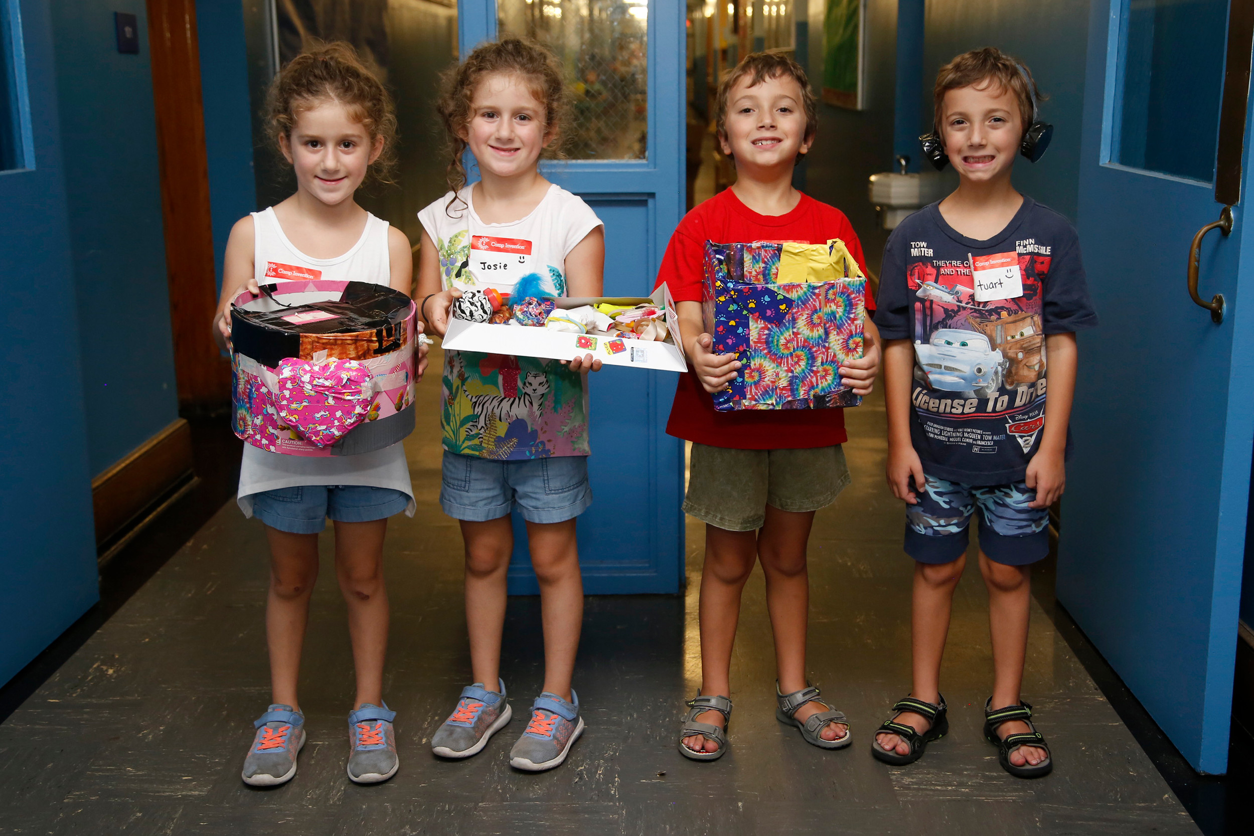 Two sets of twin inventors, Viviana and Josephine Ghezzi and Austin and Stuart Breitman, all entering second grade, showed off their creations.