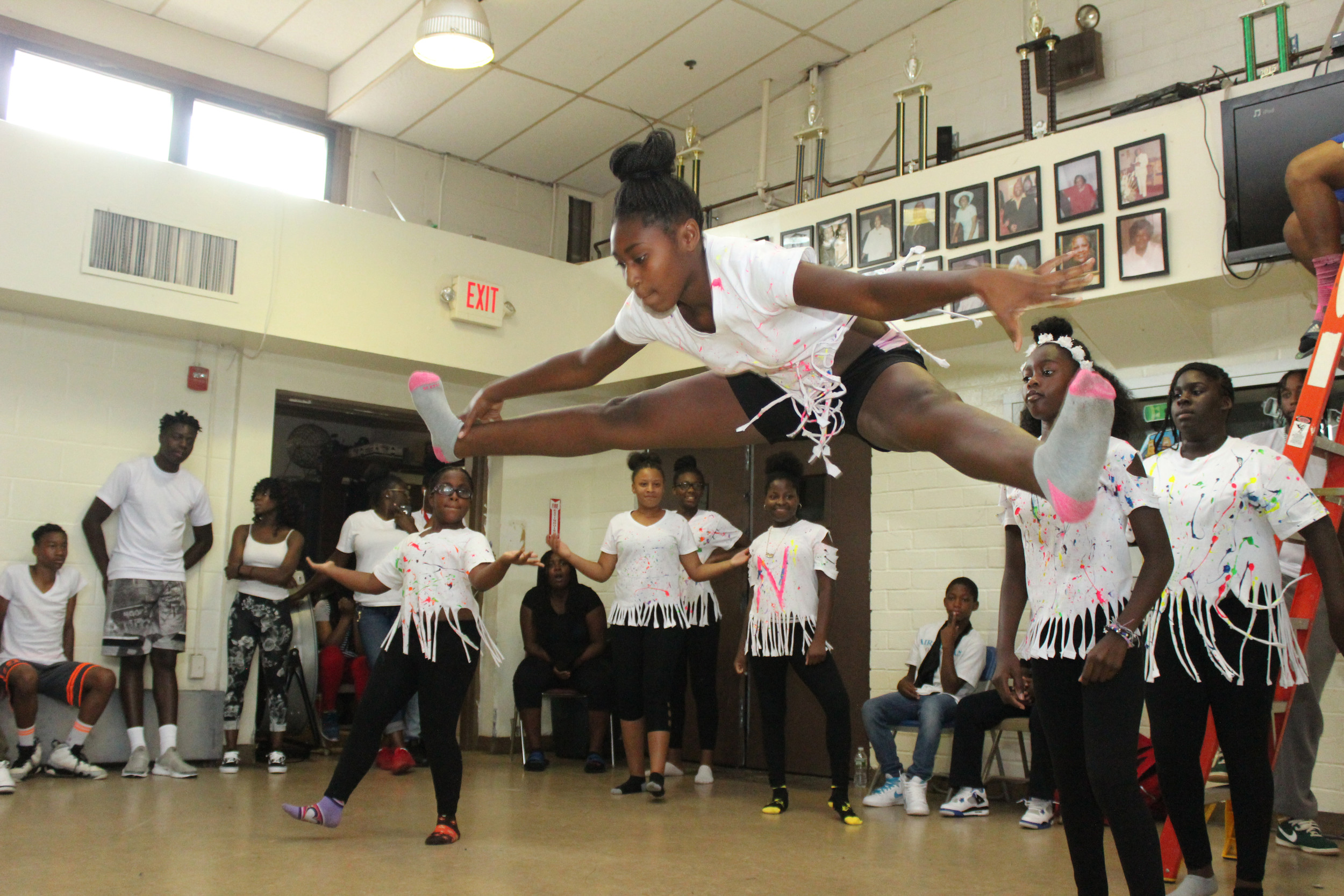 Jazaniah Nellis went airborne during a talent show at Rockville Centre's Martin Luther King Jr. Center on Aug. 24.