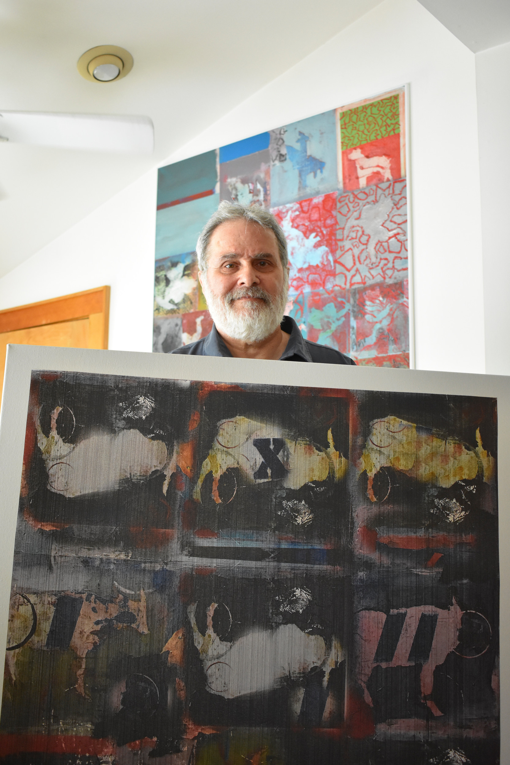 "Leinwohl was recently named a finalist in the juried art competition, Animal Kingdom: From Tame to Wild, sponsored by the Long Island Museum, for his digital, acrylic and inkjet print piece called ""Animal Farm."""