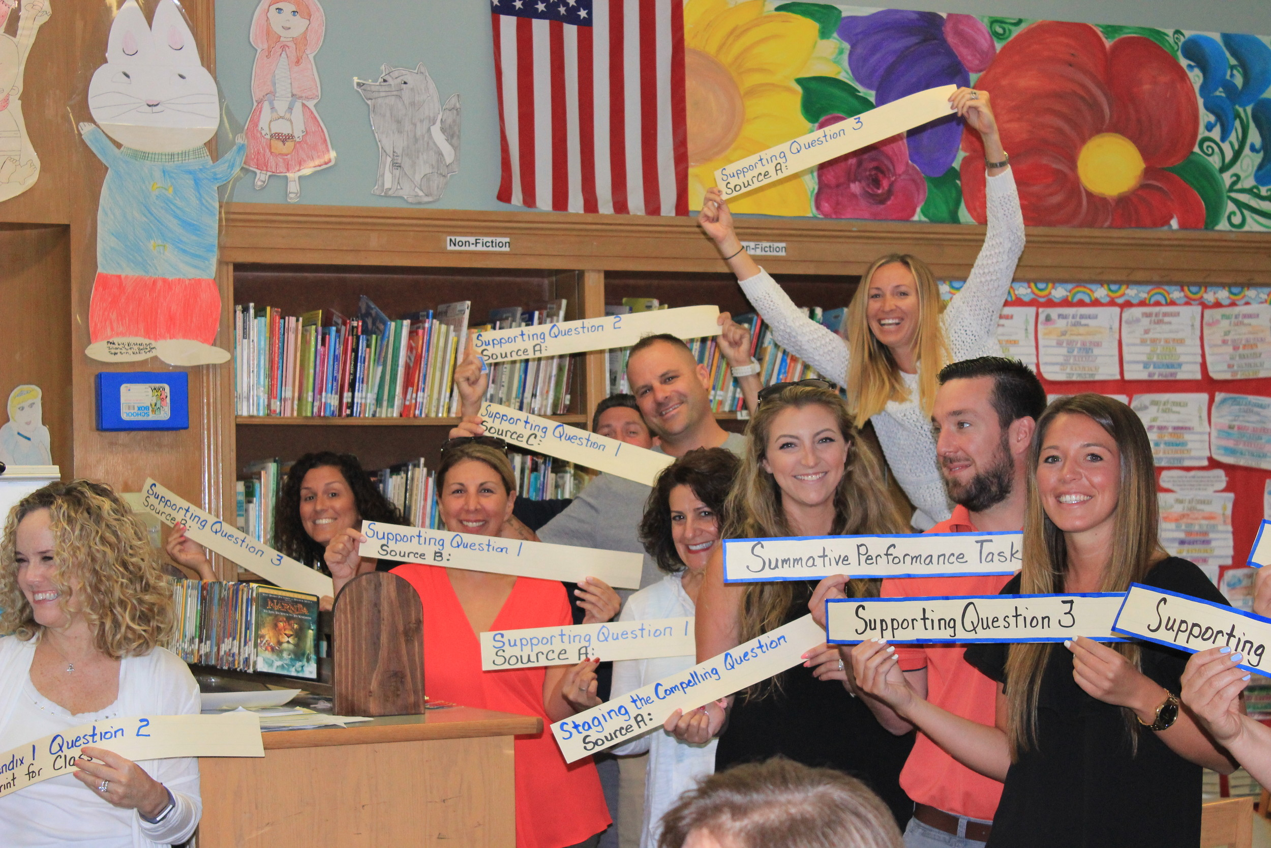 Fifth- and sixth-grade social studies teachers in the Franklin Square Elementary School District took part in a review of their subject standards in a workshop on Aug. 31. In planning lessons, the teachers follow a blueprint in which they have students asking supporting questions and providing detailed responses, or evidence, as their answers.