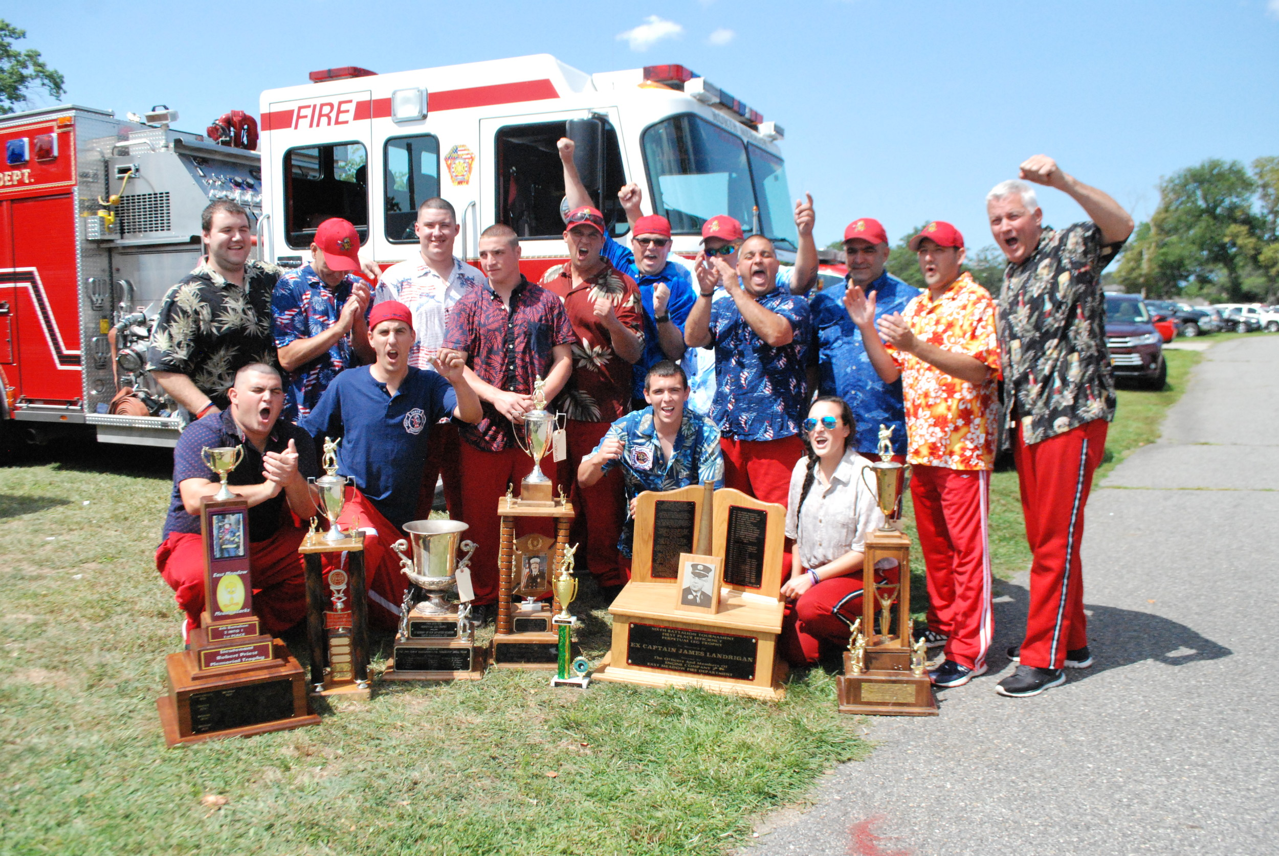 The Stump Jumpers of the North Merrick Fire Department took home first place during this year's 6th Battalion's Old Fashioned Drill, held on Aug. 26 at the 4 Towns Training Center Merrick.