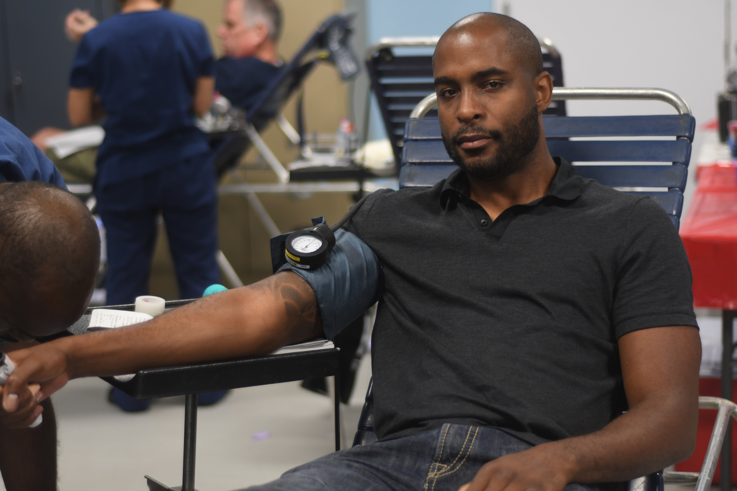 George Heurtelou of Franklin Square happily donated his time and blood Sunday afternoon in Fraklin Square for the drive hosted by the Knights of Columbus.