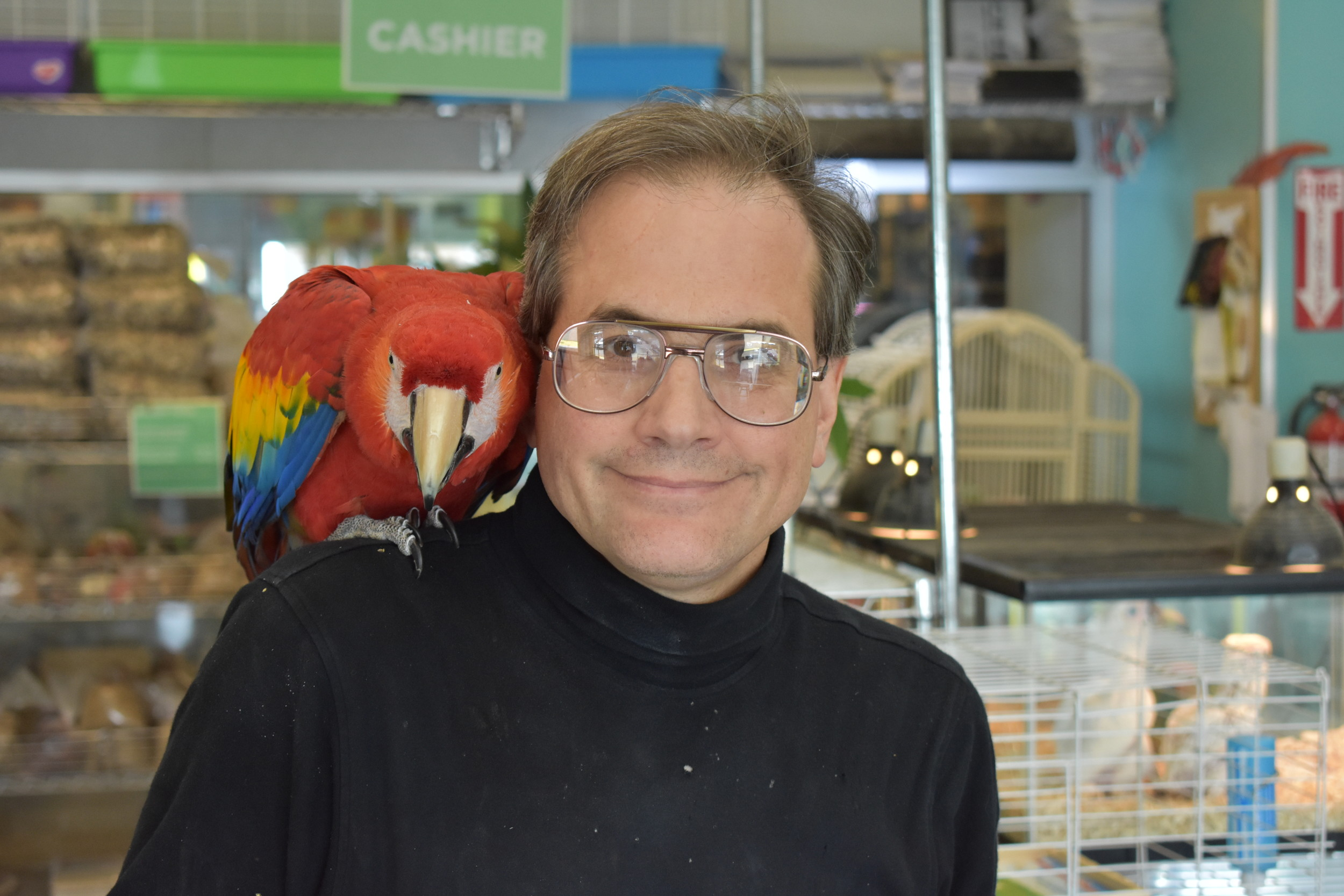 Marc Morrone, owner of Parrots of the World in Rockville Centre, with his parrot friend Harry.