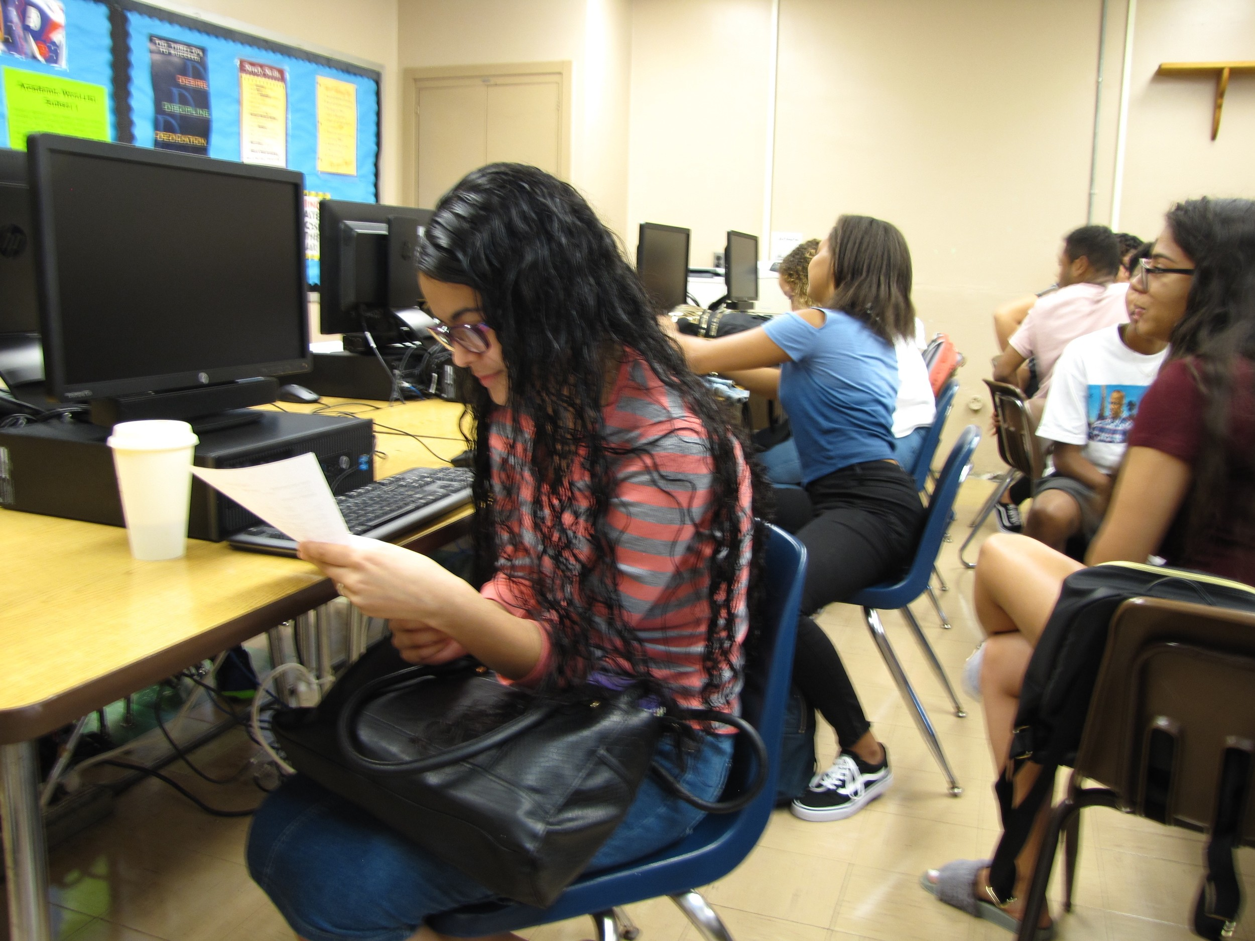 Freeport High School senior Rossy Baiz reviewed her class schedule during homeroom on the first day of school.