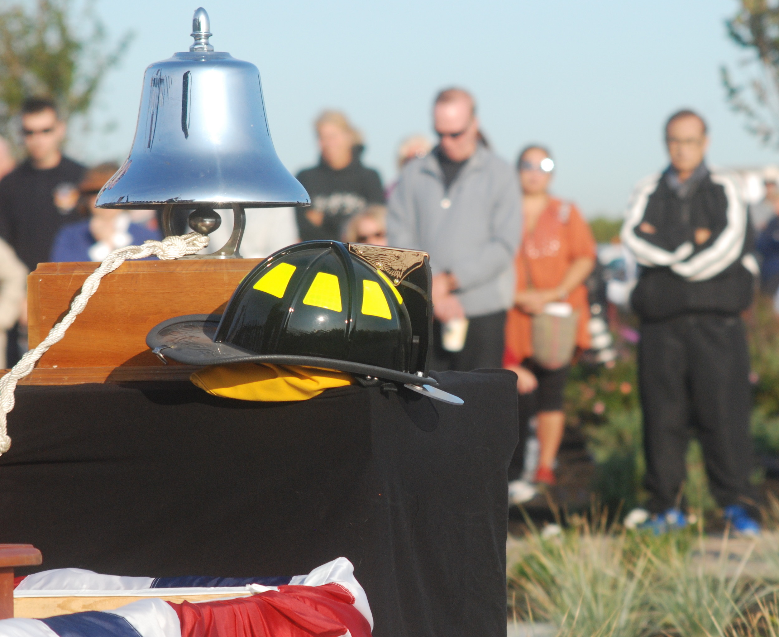 A firefighter's helmet found at ground zero sat in front of the lectern during the dedication ceremony.