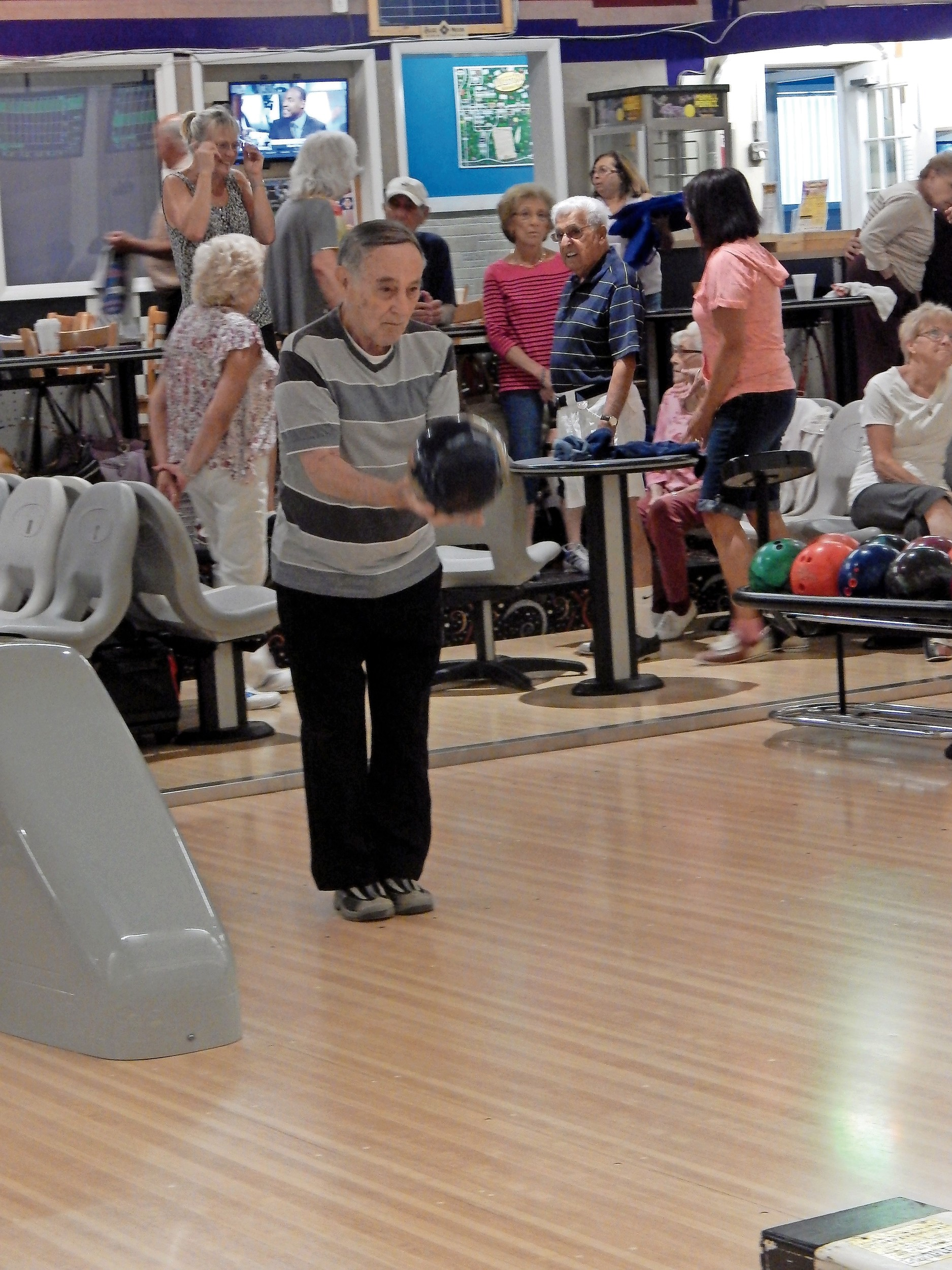 Seniors played three free games of bowling.